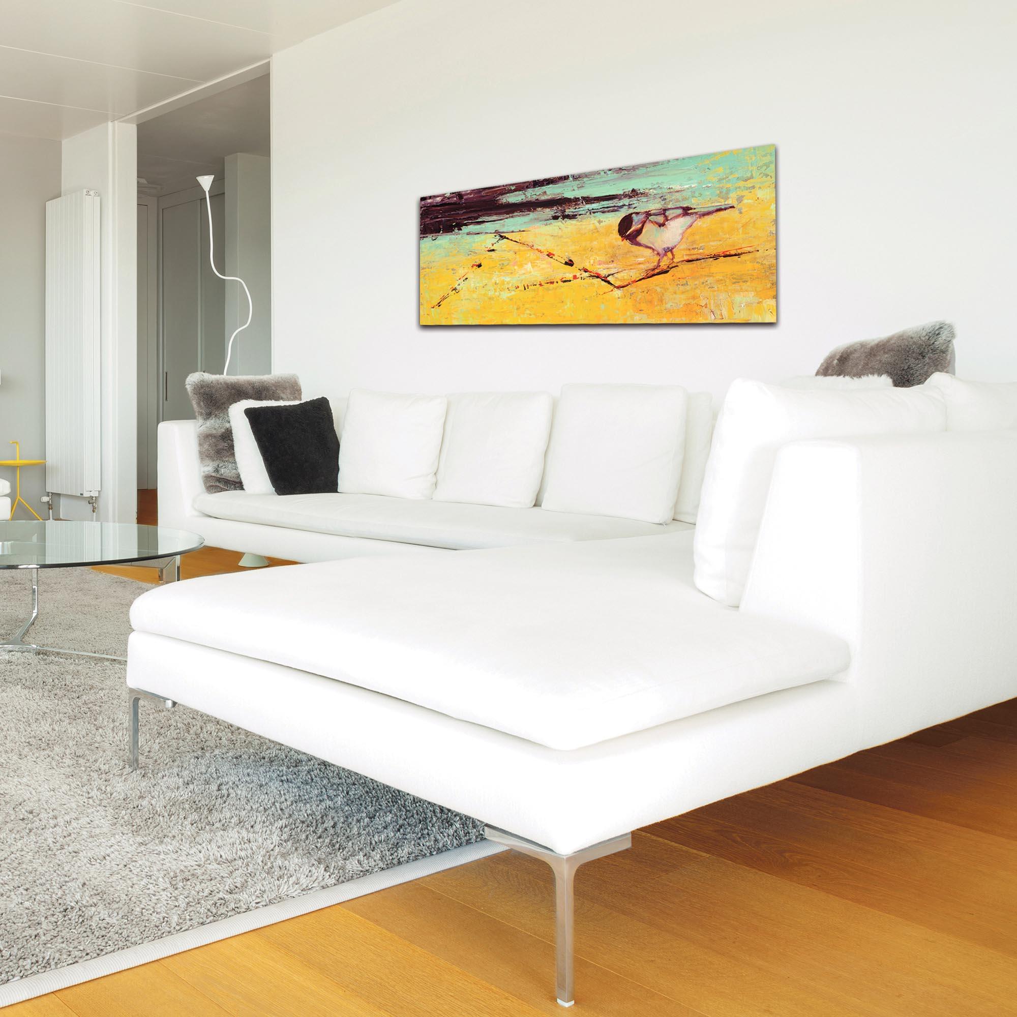 Contemporary Wall Art 'Bird on a Horizon v2' - Urban Birds Decor on Metal or Plexiglass - Lifestyle View