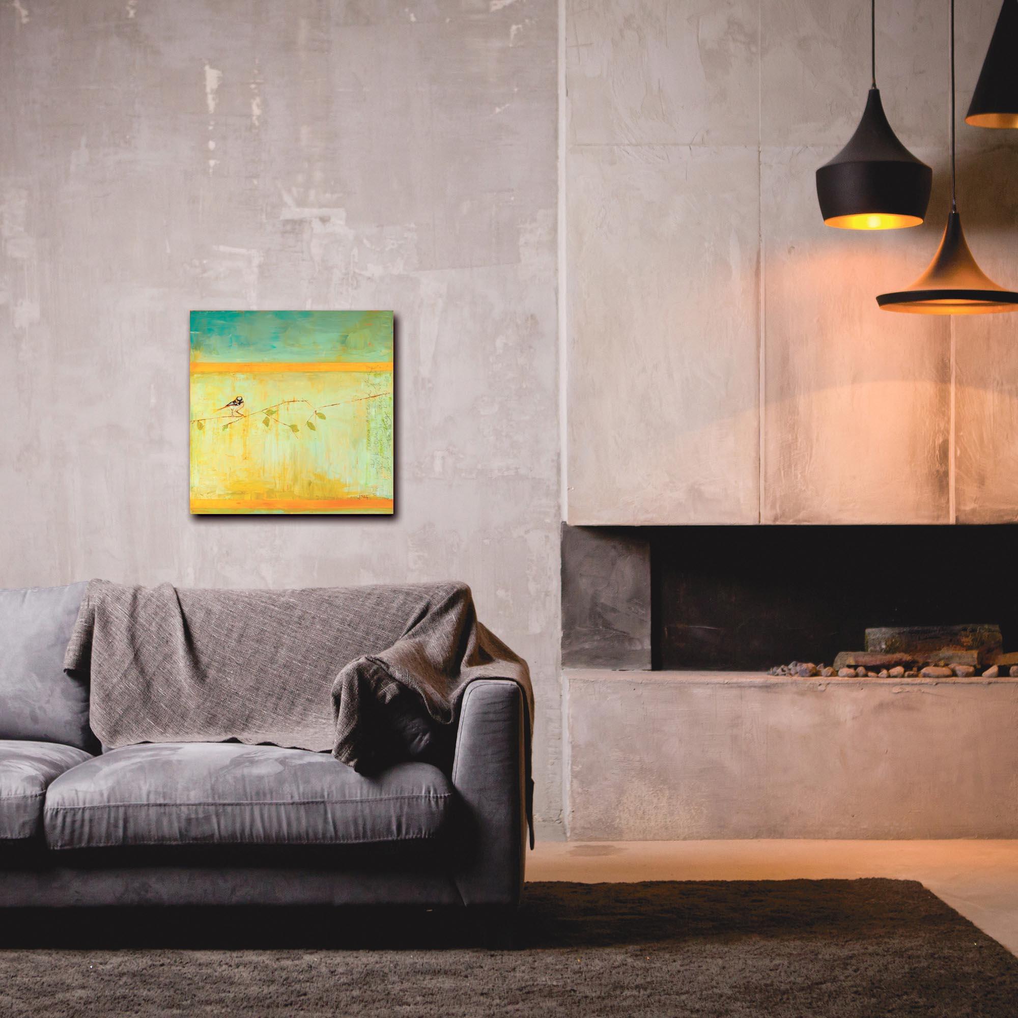Contemporary Wall Art 'Bird with Horizontal Stripes' - Urban Birds Decor on Metal or Plexiglass - Lifestyle View