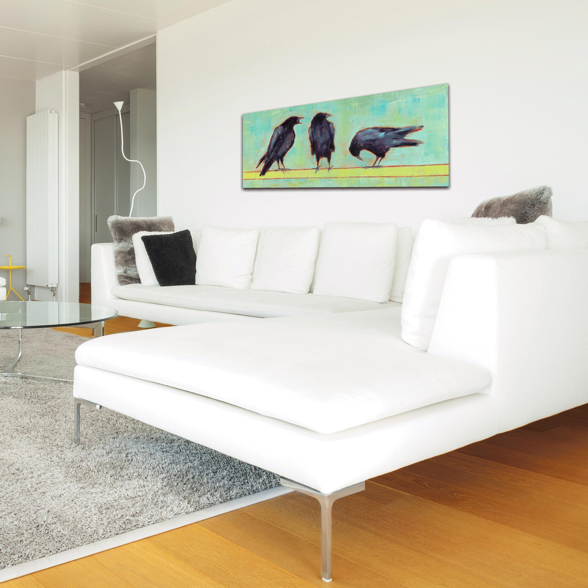 Contemporary Wall Art 'Crow Bar 1 v2' - Urban Birds Decor on Metal or Plexiglass - Lifestyle View