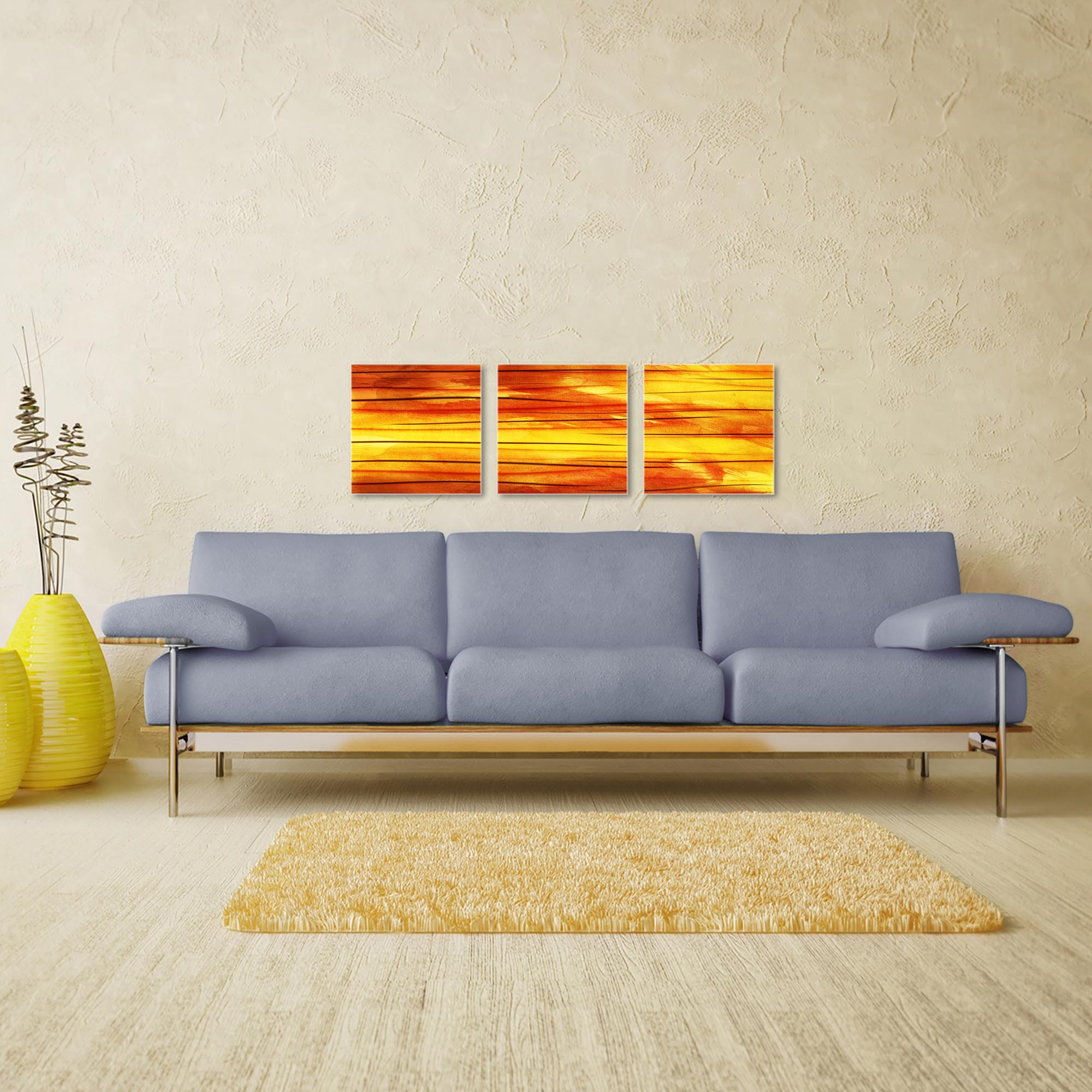 Momentum Triptych 38x12in. Metal or Acrylic Abstract Decor - Image 3