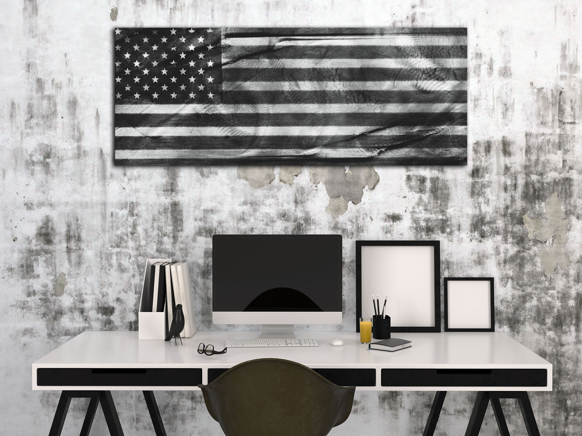 American Glory Black & White - Modern Wall Decor - Lifestyle Image