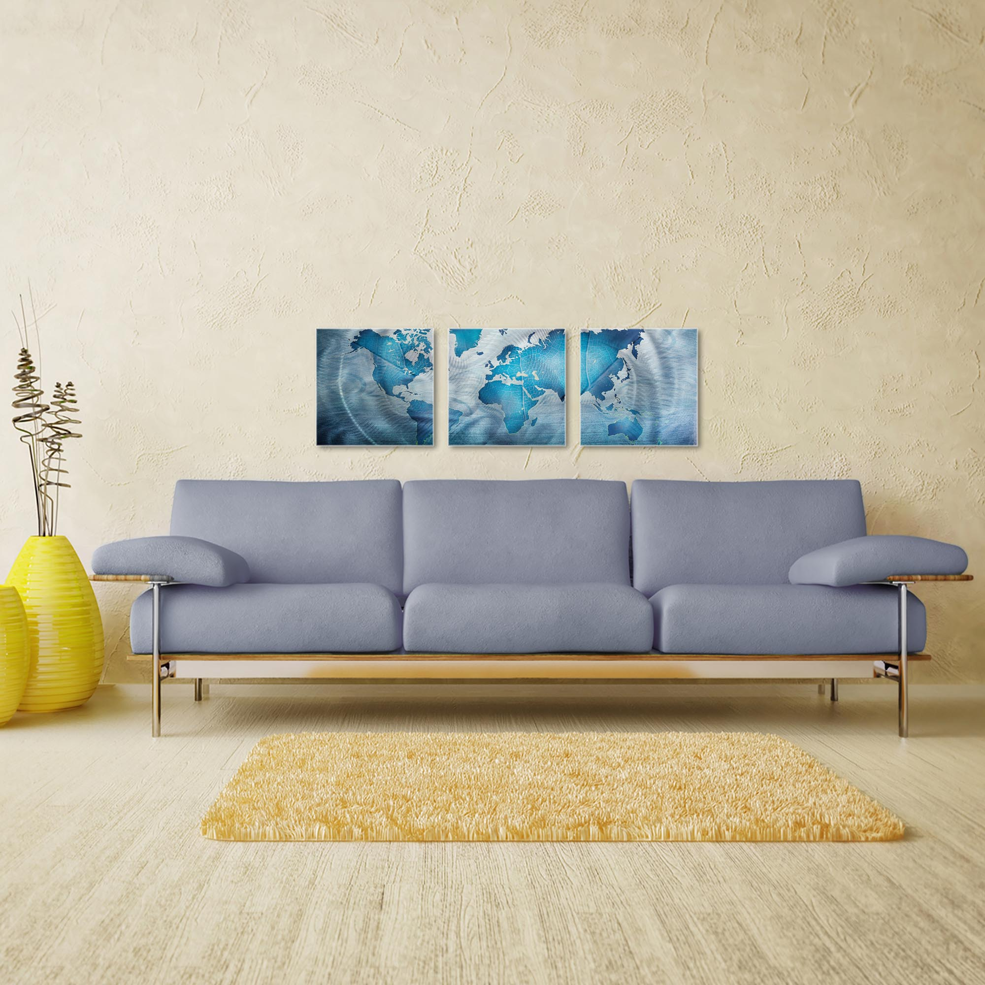 Land and Sea Triptych 38x12in. Metal or Acrylic Contemporary Decor - Image 3