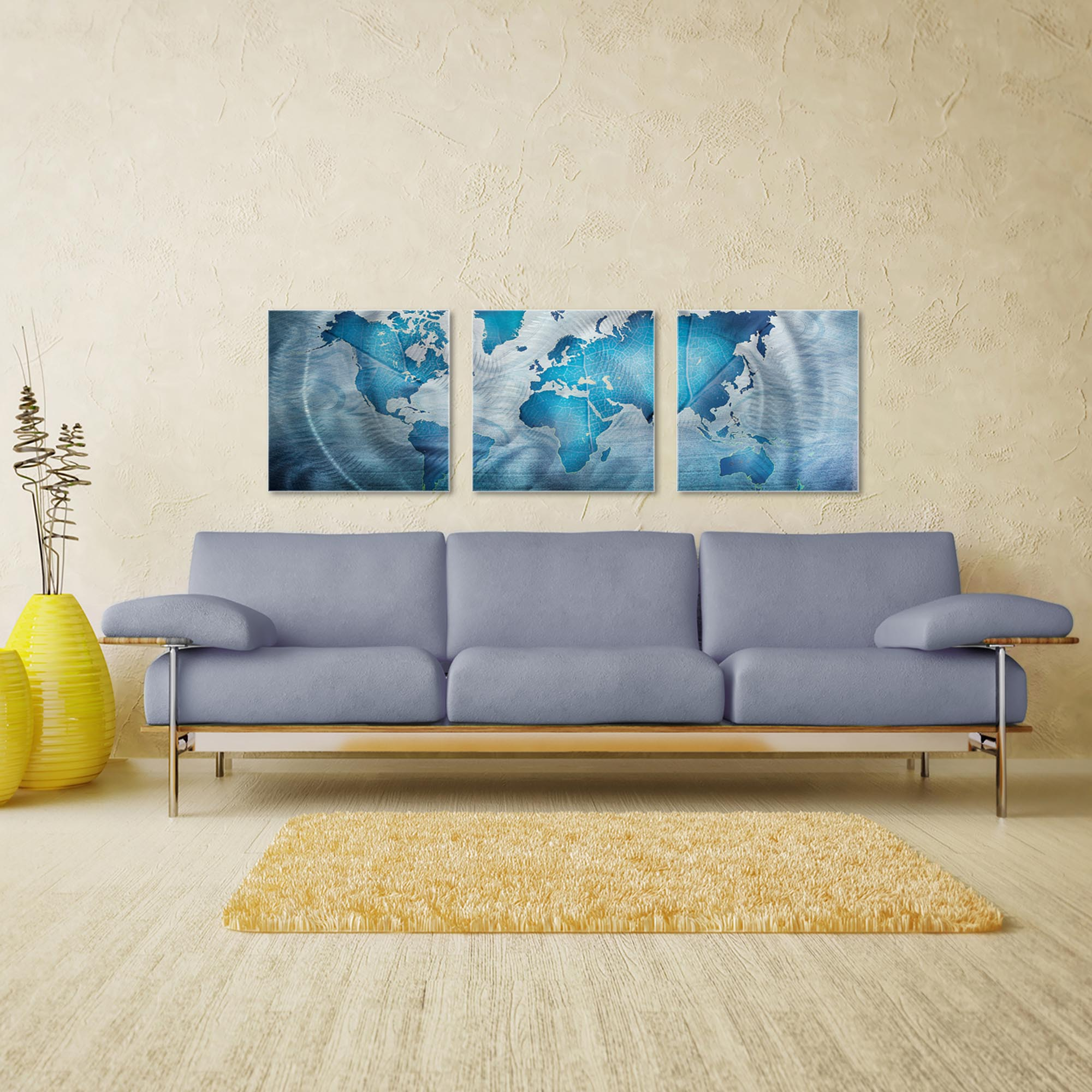 Land and Sea Triptych Large 70x22in. Metal or Acrylic Contemporary Decor - Image 3