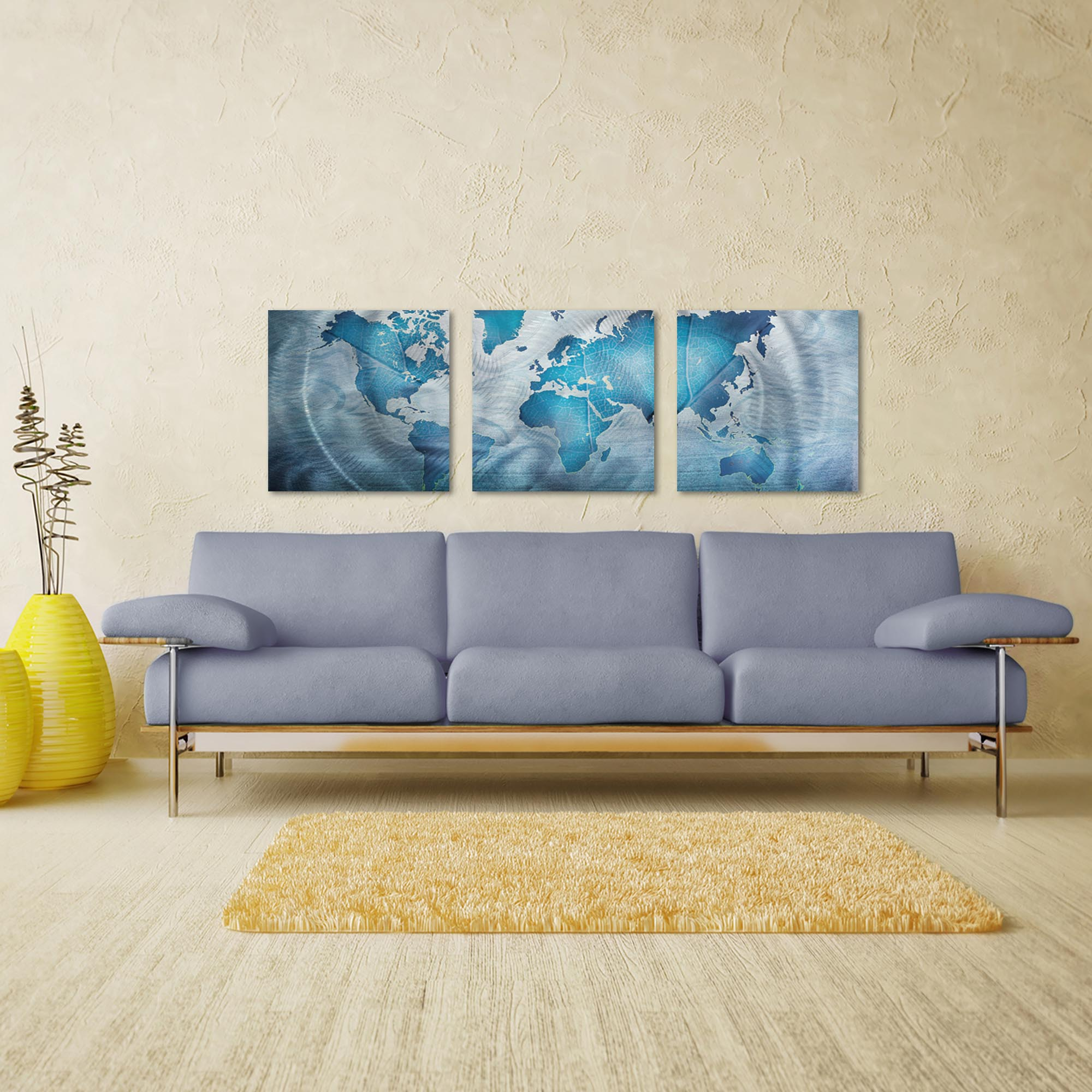 Land and Sea Triptych Large 70x22in. Metal or Acrylic Contemporary Decor - Lifestyle View