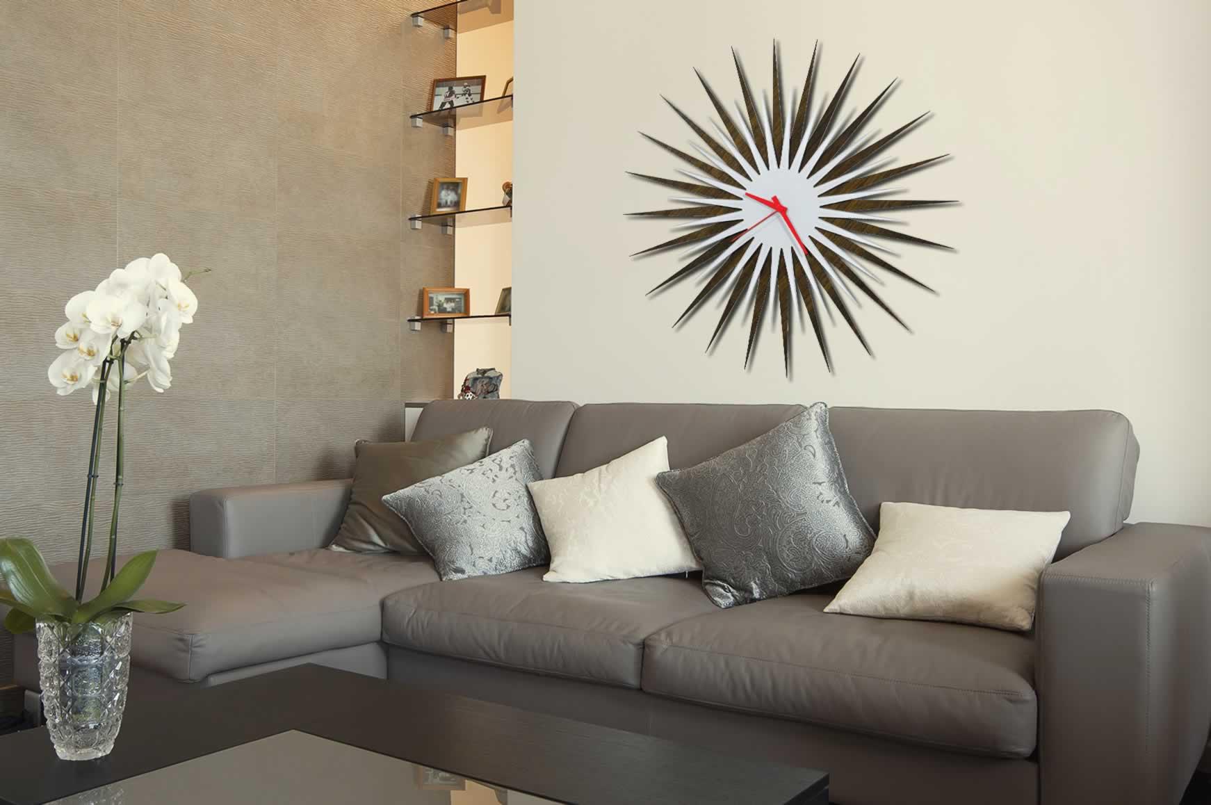 RF Atomic Clock - Walnut White/Red Starburst - Lifestyle Image