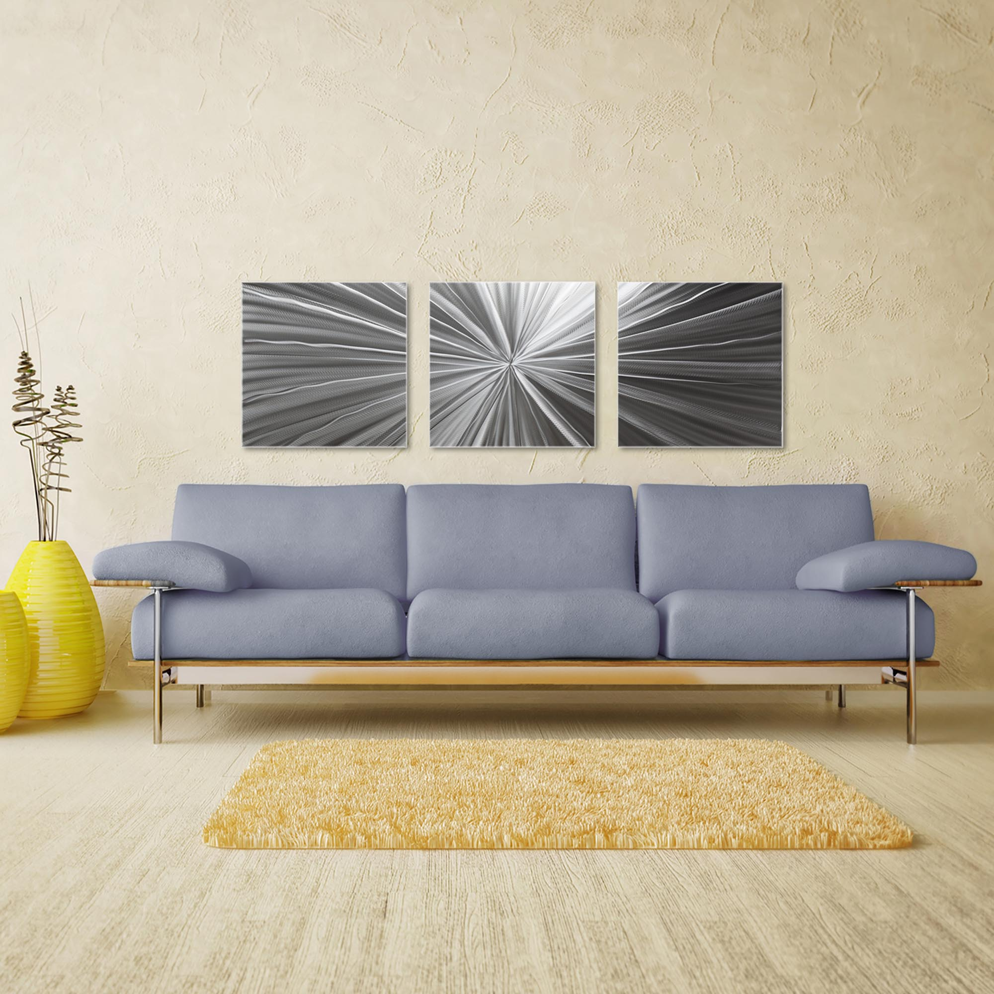 Tantalum Triptych Large 70x22in. Metal or Acrylic Contemporary Decor - Image 3