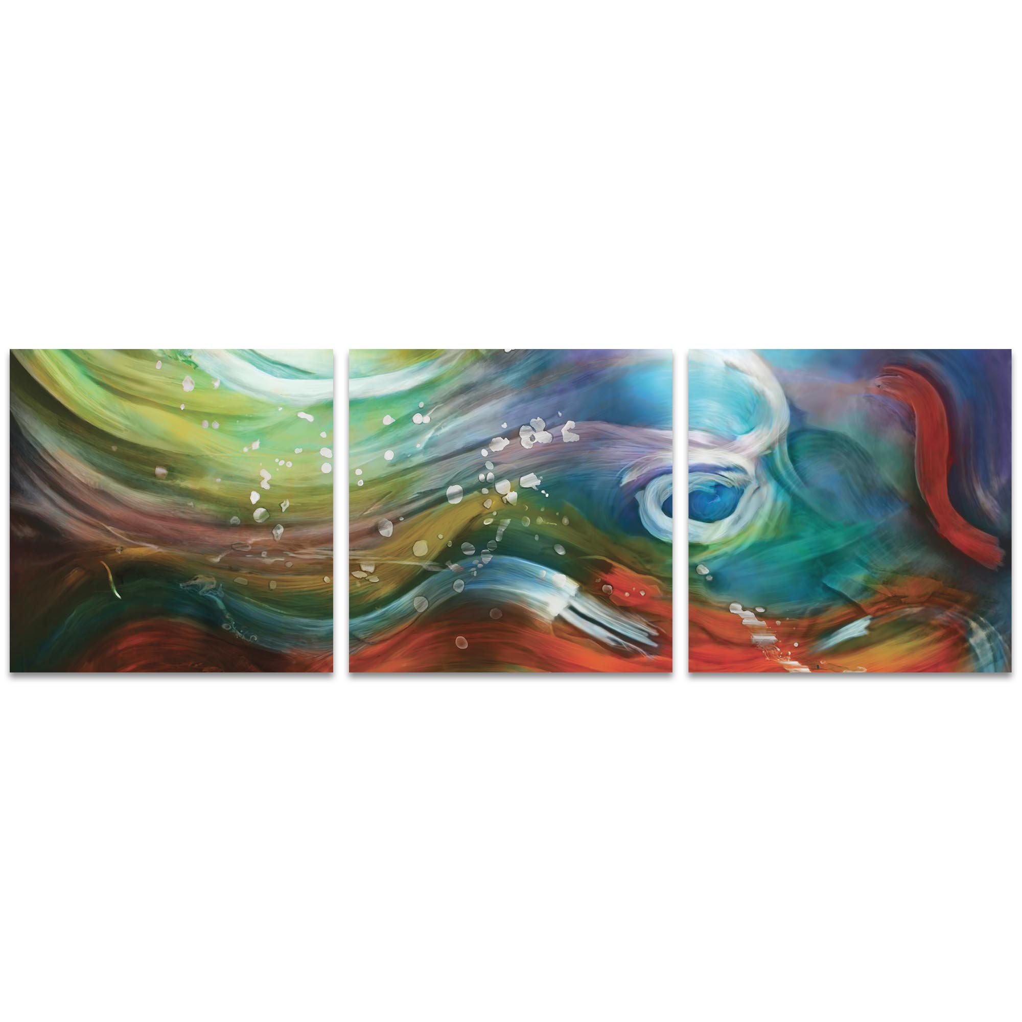 Esne Triptych 38x12in. Metal or Acrylic Abstract Decor