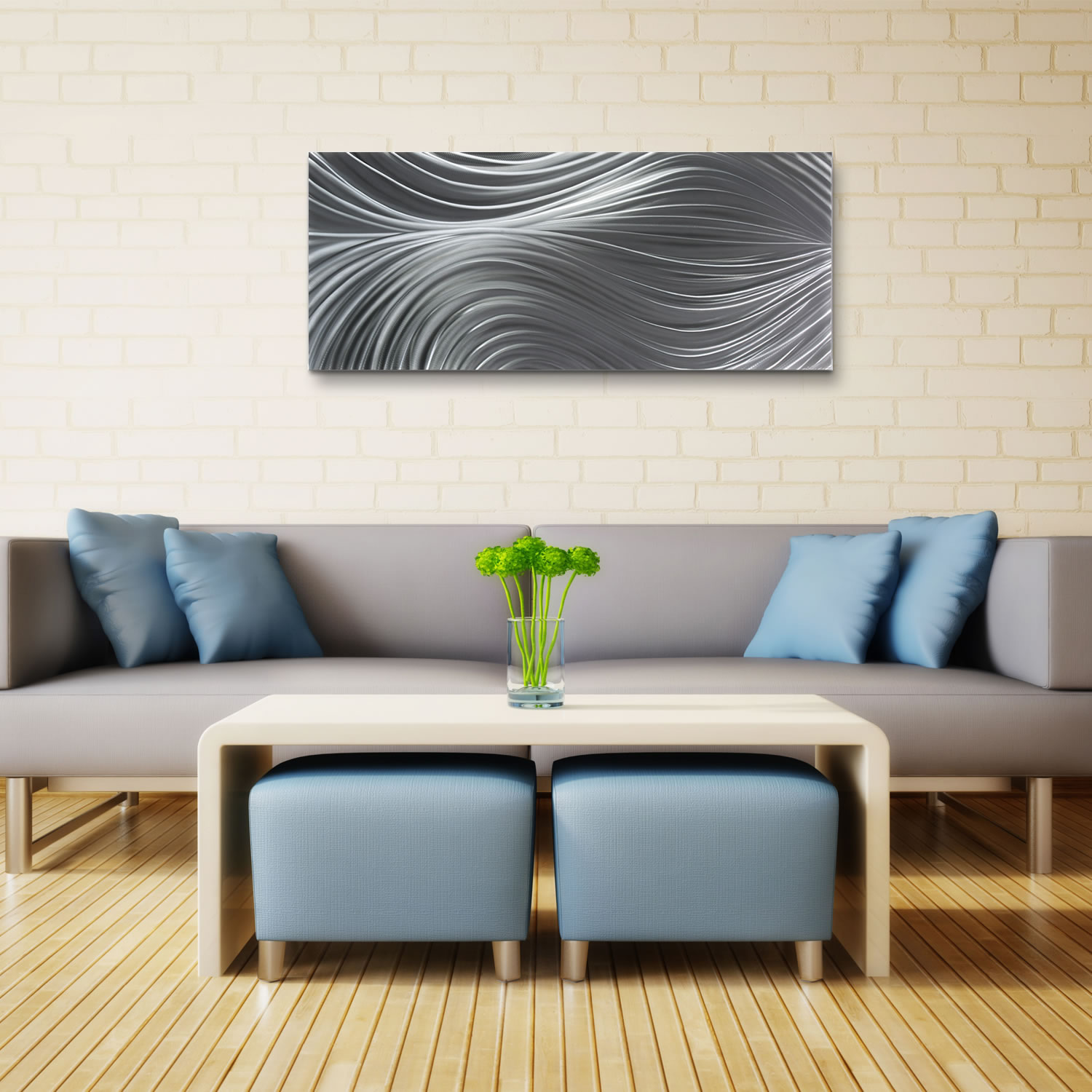 Passing Currents Composition - HD Metal Art Photo Print - Lifestyle Image