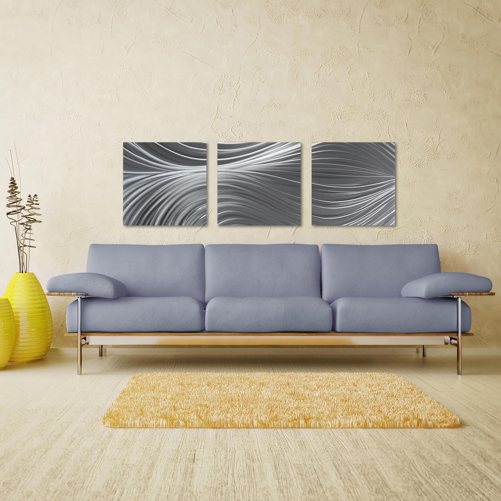 Passing Currents Triptych Large 70x22in. Metal or Acrylic Contemporary Decor - Lifestyle View