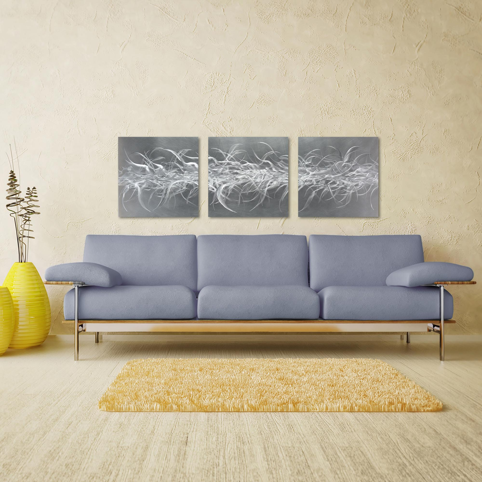 Electric Fields Triptych Large 70x22in. Metal or Acrylic Contemporary Decor - Lifestyle View