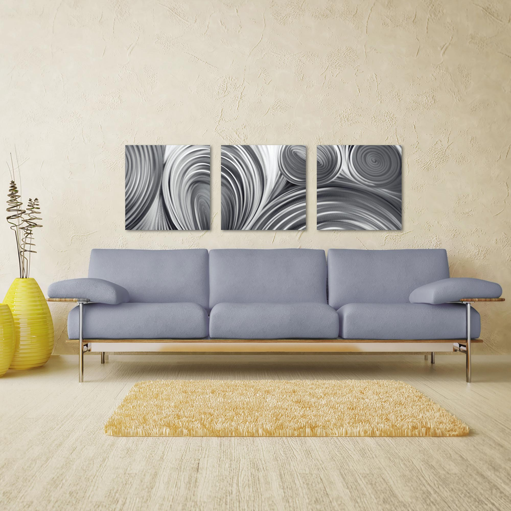 Conduction Triptych Large 70x22in. Metal or Acrylic Contemporary Decor - Lifestyle View