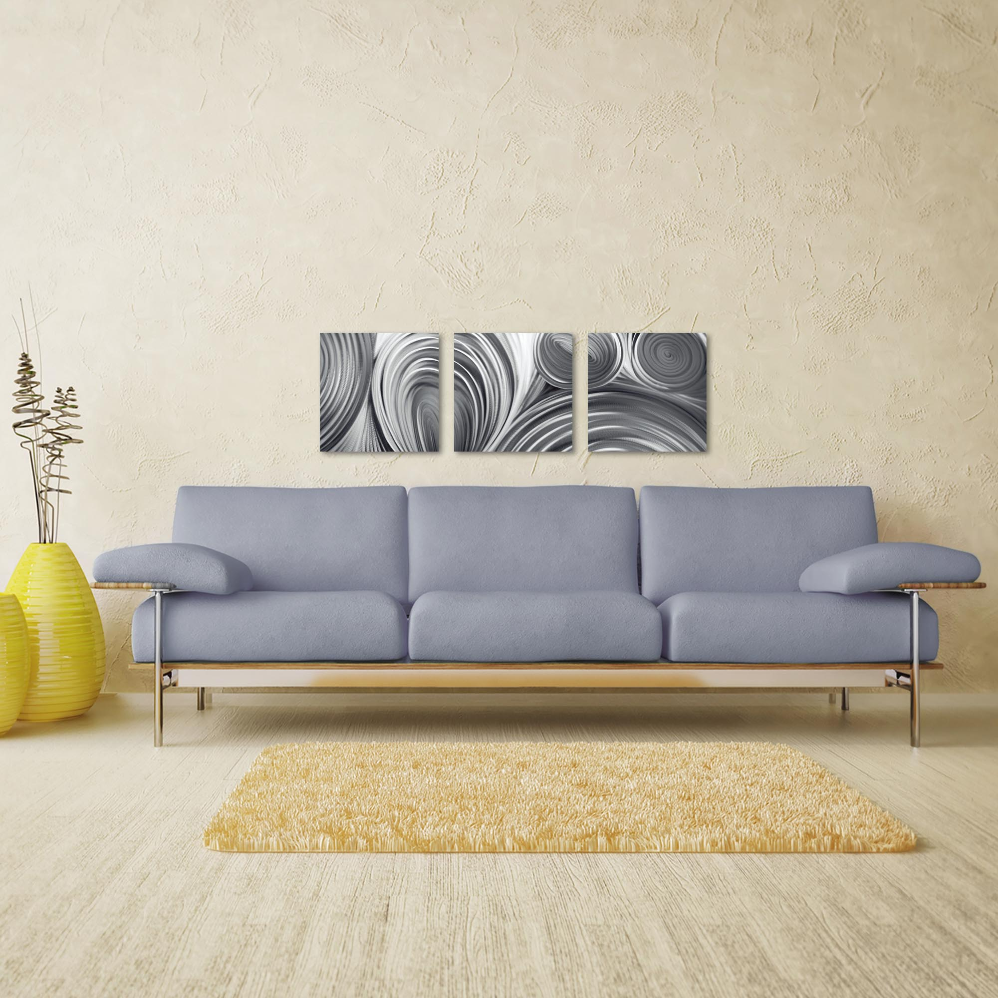 Conduction Triptych 38x12in. Metal or Acrylic Contemporary Decor - Lifestyle View