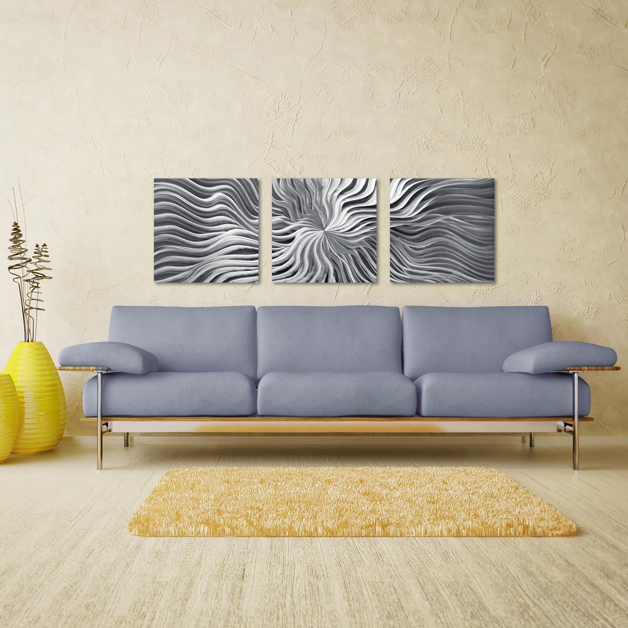 Flexure Triptych Large 70x22in. Metal or Acrylic Contemporary Decor - Lifestyle View