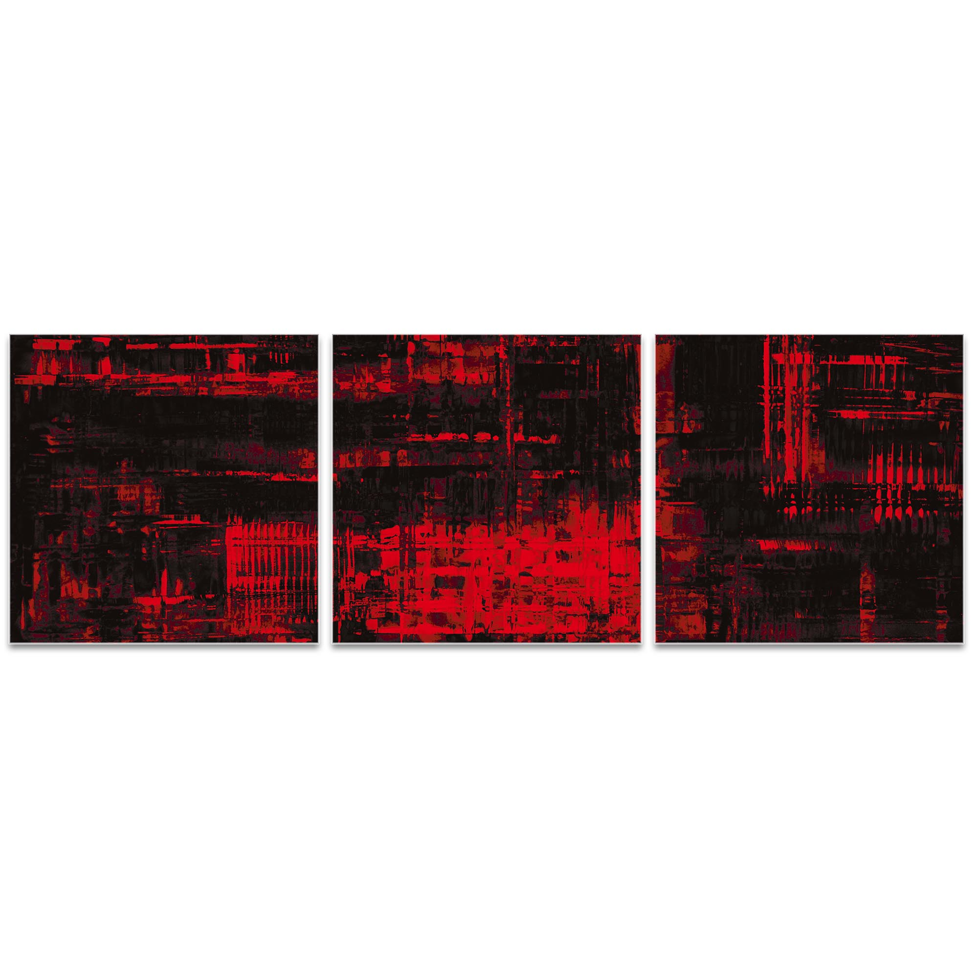 Aporia Red Triptych 38x12in. Metal or Acrylic Contemporary Decor - Image 2
