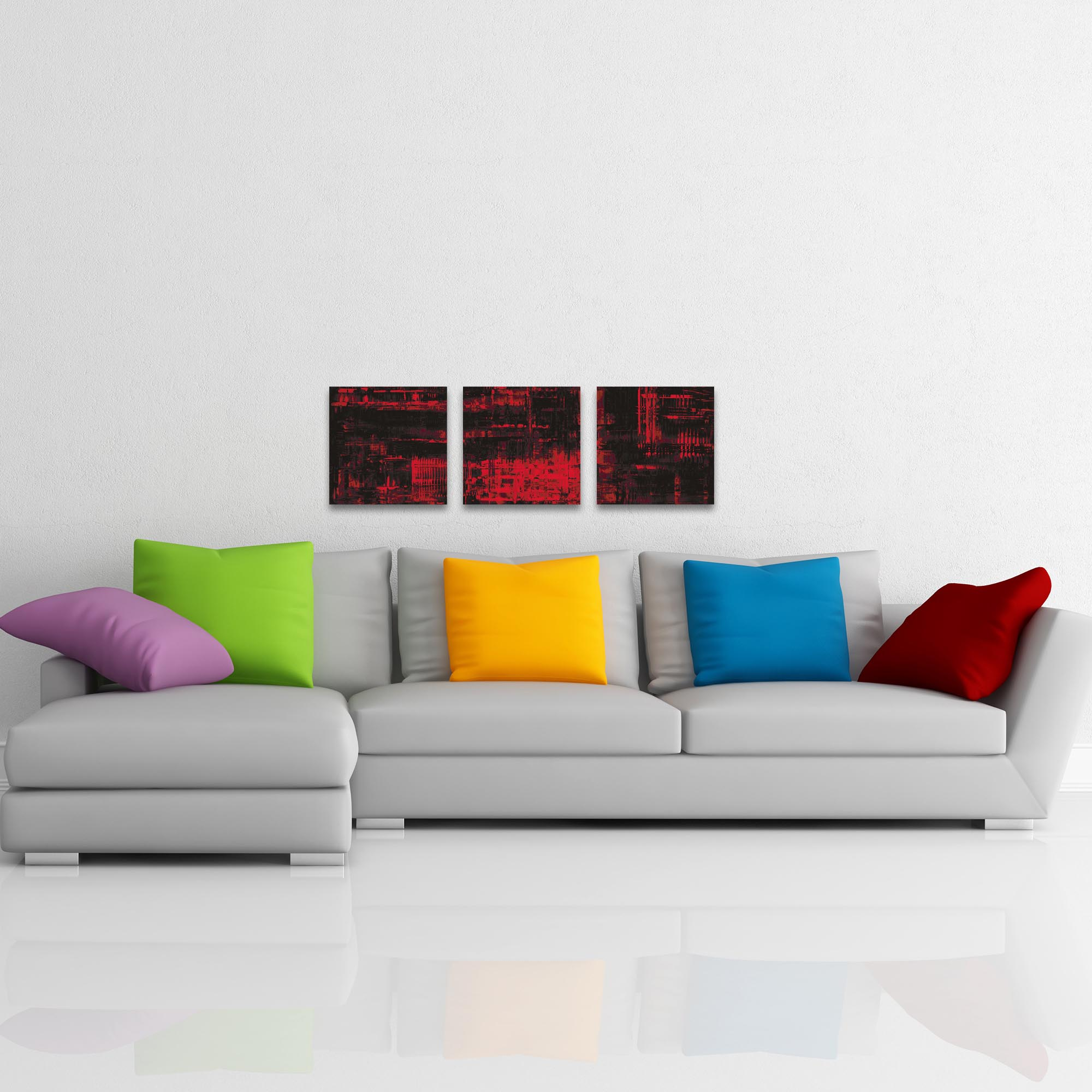 Aporia Red Triptych 38x12in. Metal or Acrylic Contemporary Decor - Lifestyle View