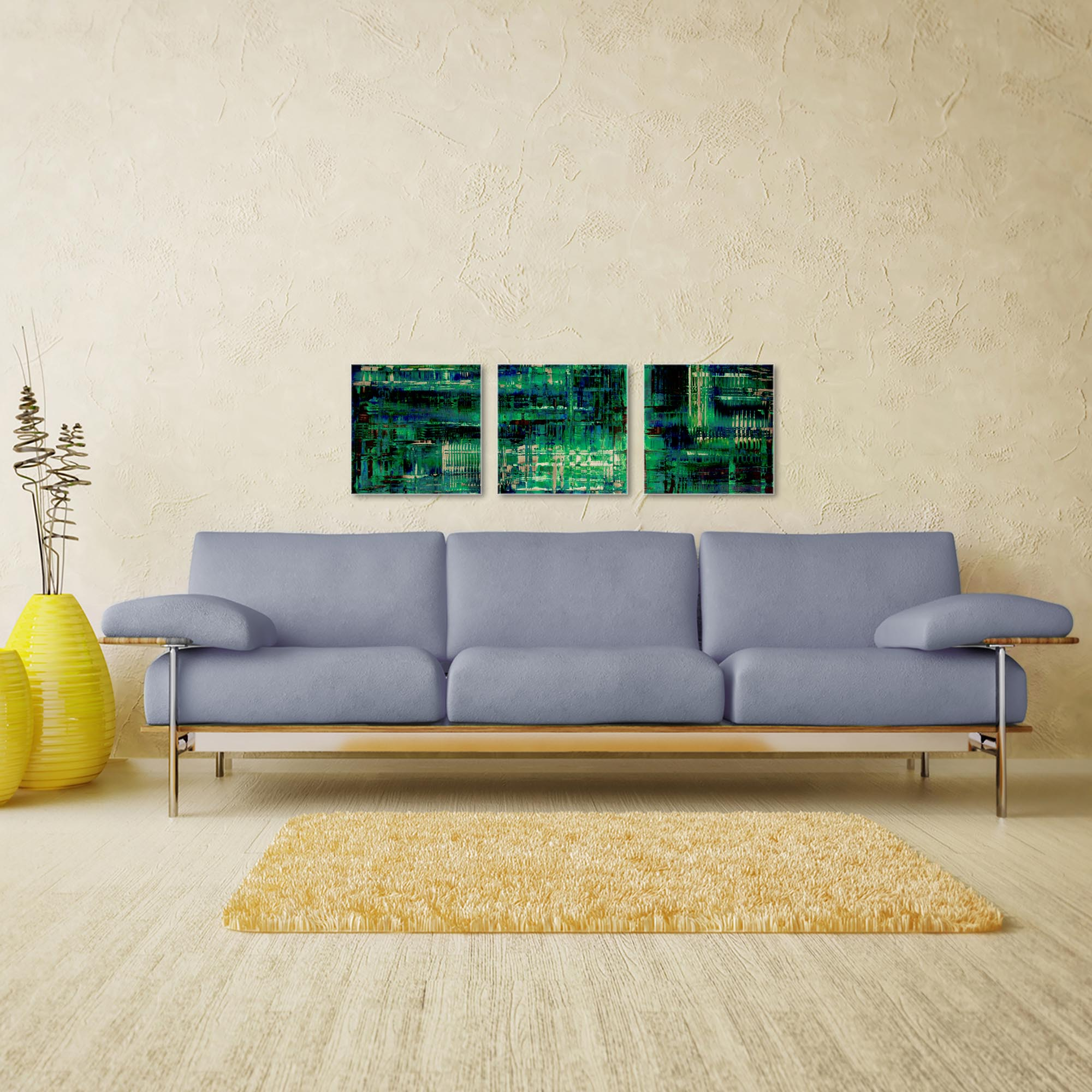 Aporia Blue Triptych 38x12in. Metal or Acrylic Contemporary Decor - Image 3
