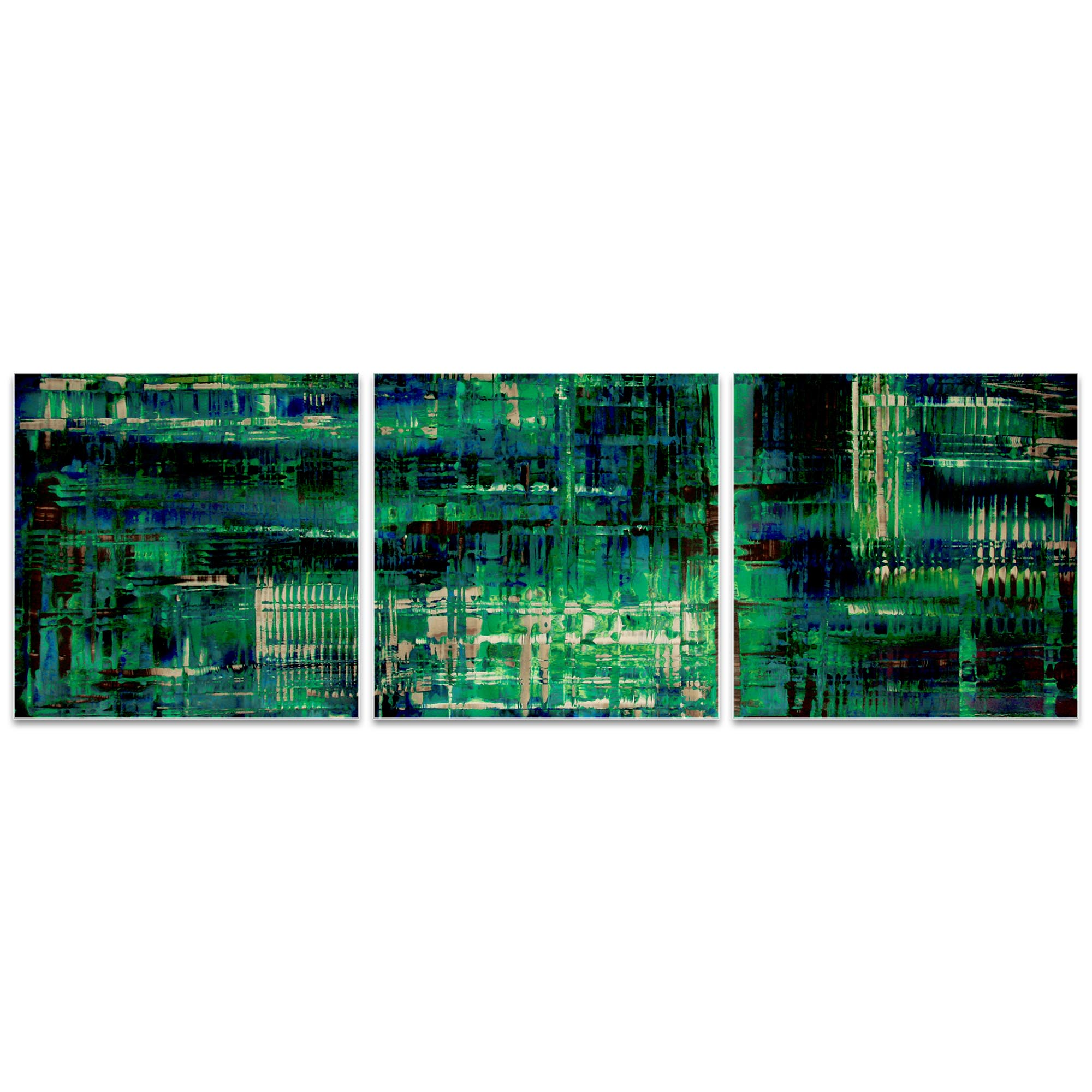 Aporia Blue Triptych 38x12in. Metal or Acrylic Contemporary Decor - Image 2