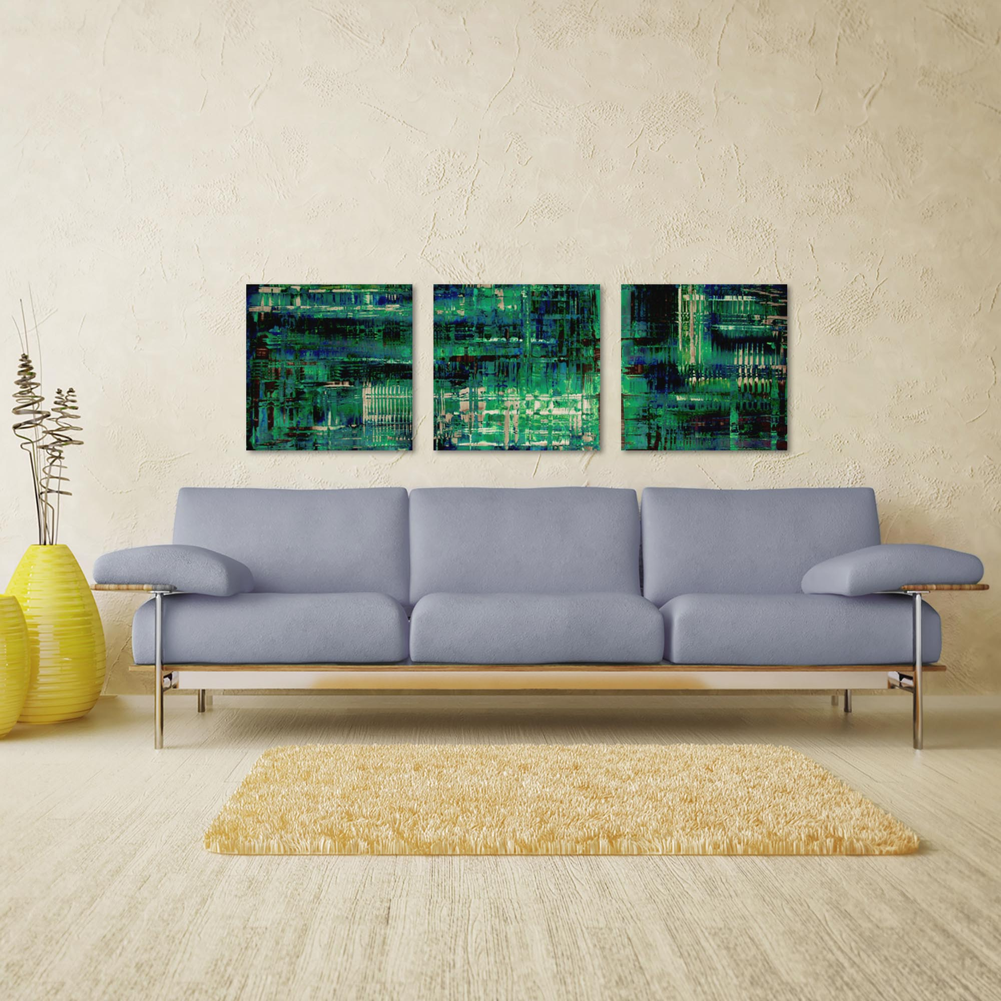Aporia Blue Triptych Large 70x22in. Metal or Acrylic Contemporary Decor - Lifestyle View