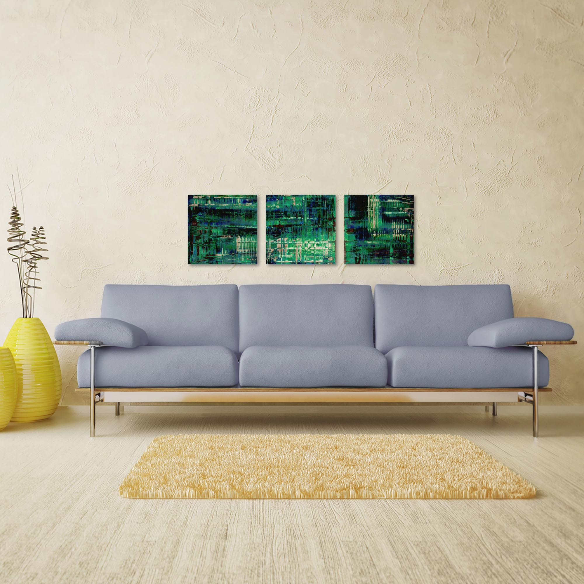 Aporia Blue Triptych 38x12in. Metal or Acrylic Contemporary Decor - Lifestyle View