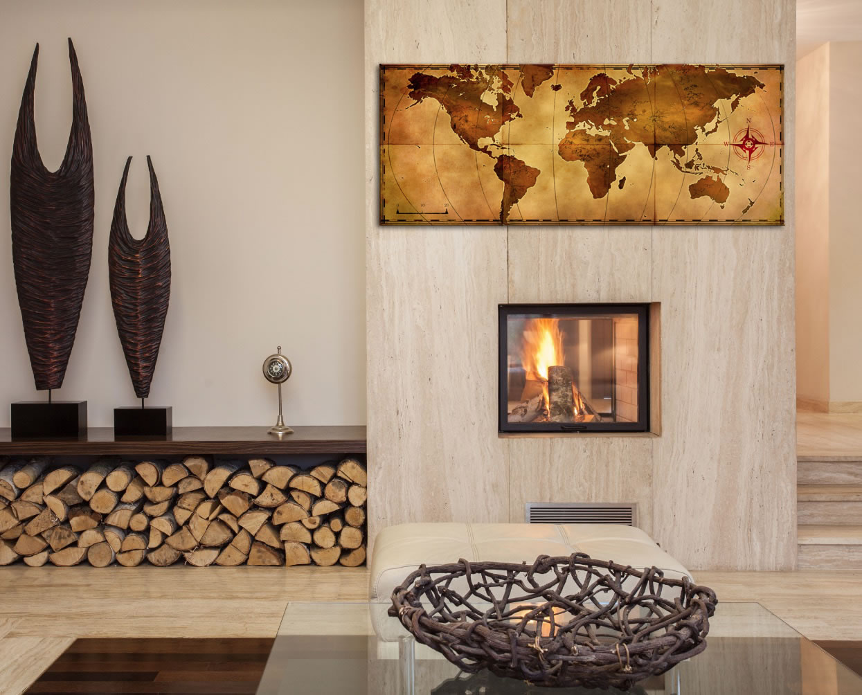 Old World Map - Contemporary Metal Wall Art - Lifestyle Image
