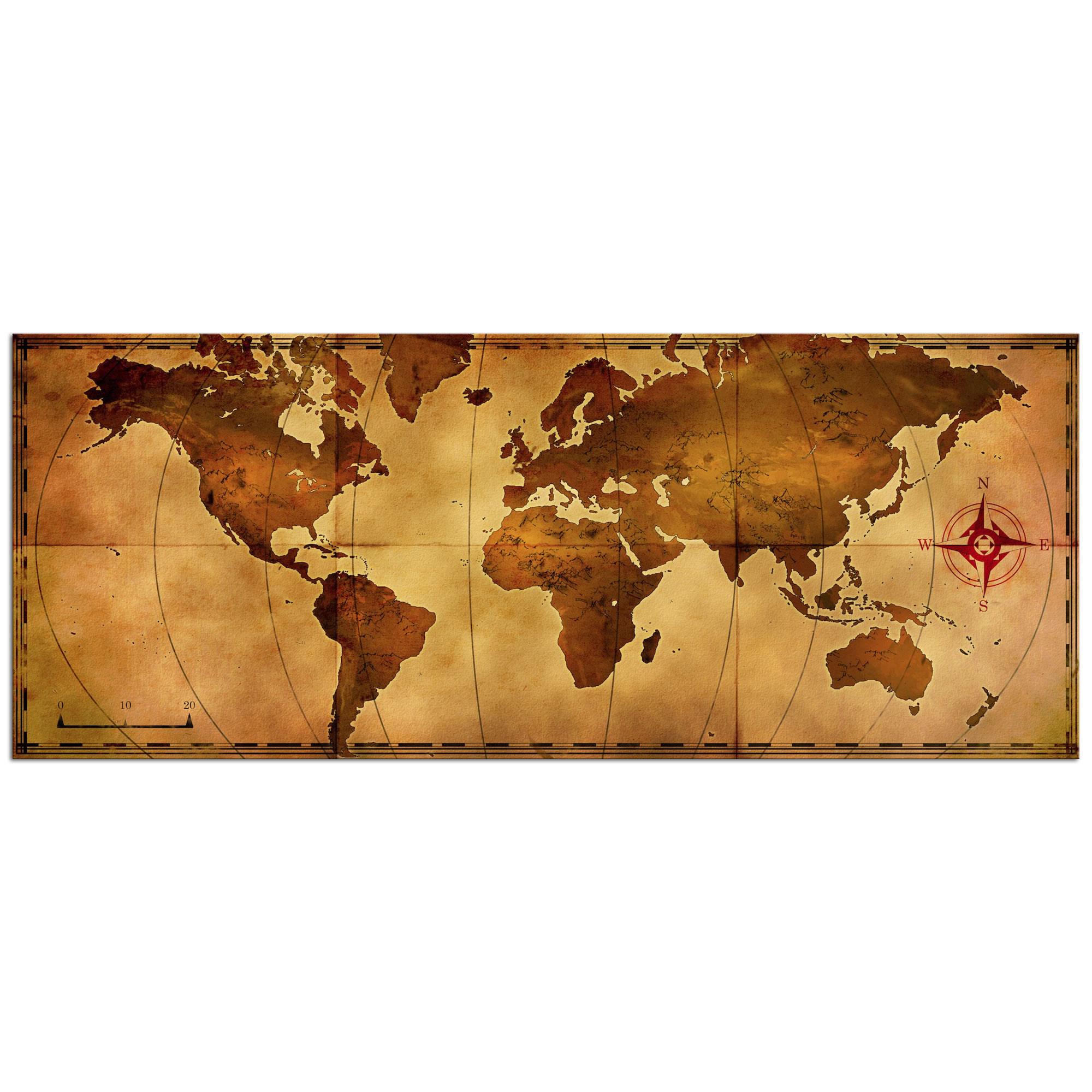 Metal Art Studio - Old World Map - Large Indoor/Outdoor Modern Metal ...