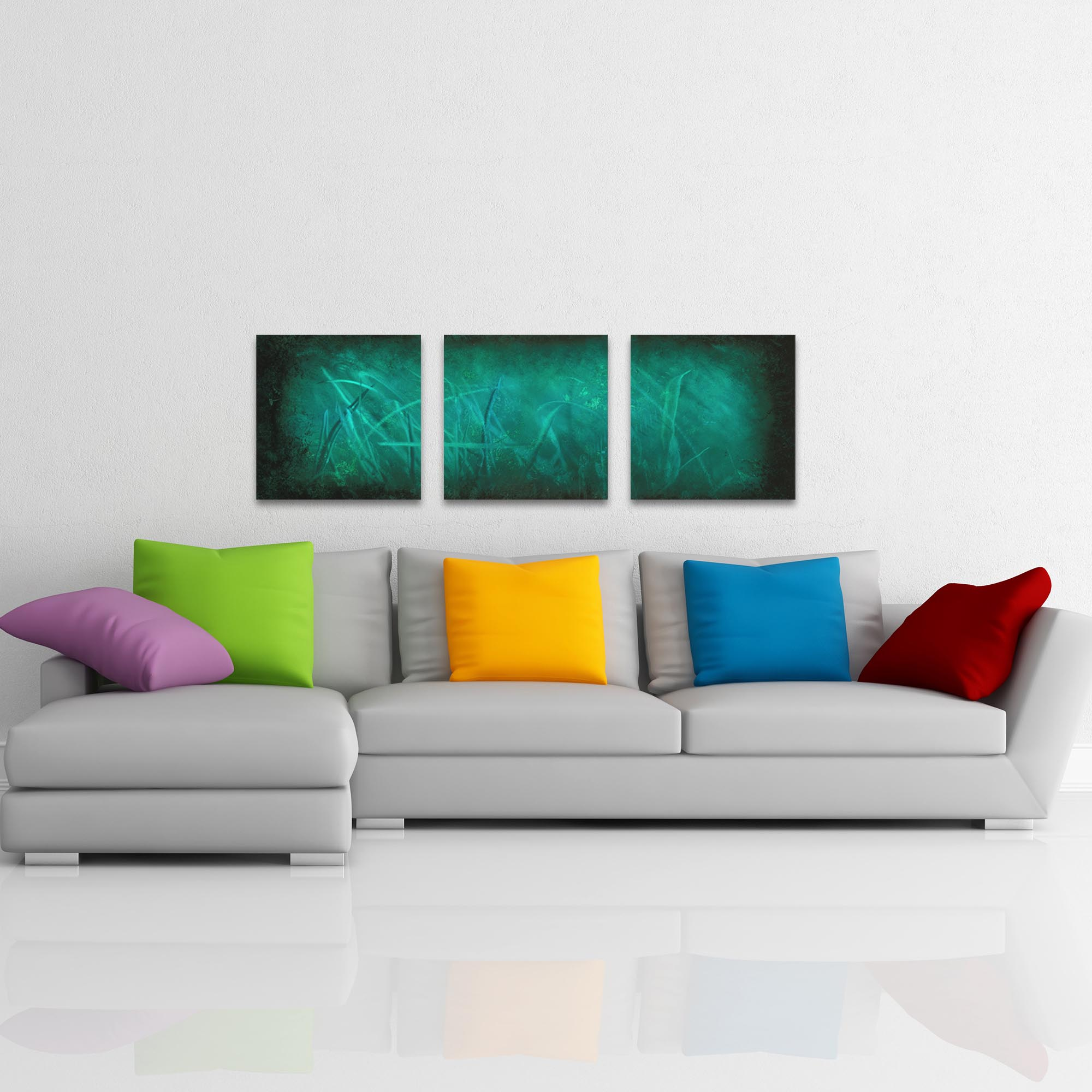 Ocean Mist Triptych Large 70x22in. Metal or Acrylic Abstract Decor - Lifestyle View