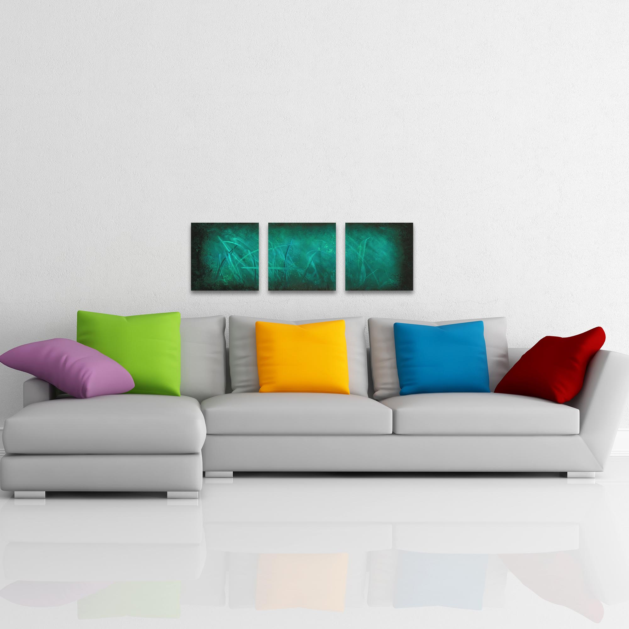 Ocean Mist Triptych 38x12in. Metal or Acrylic Abstract Decor - Lifestyle View