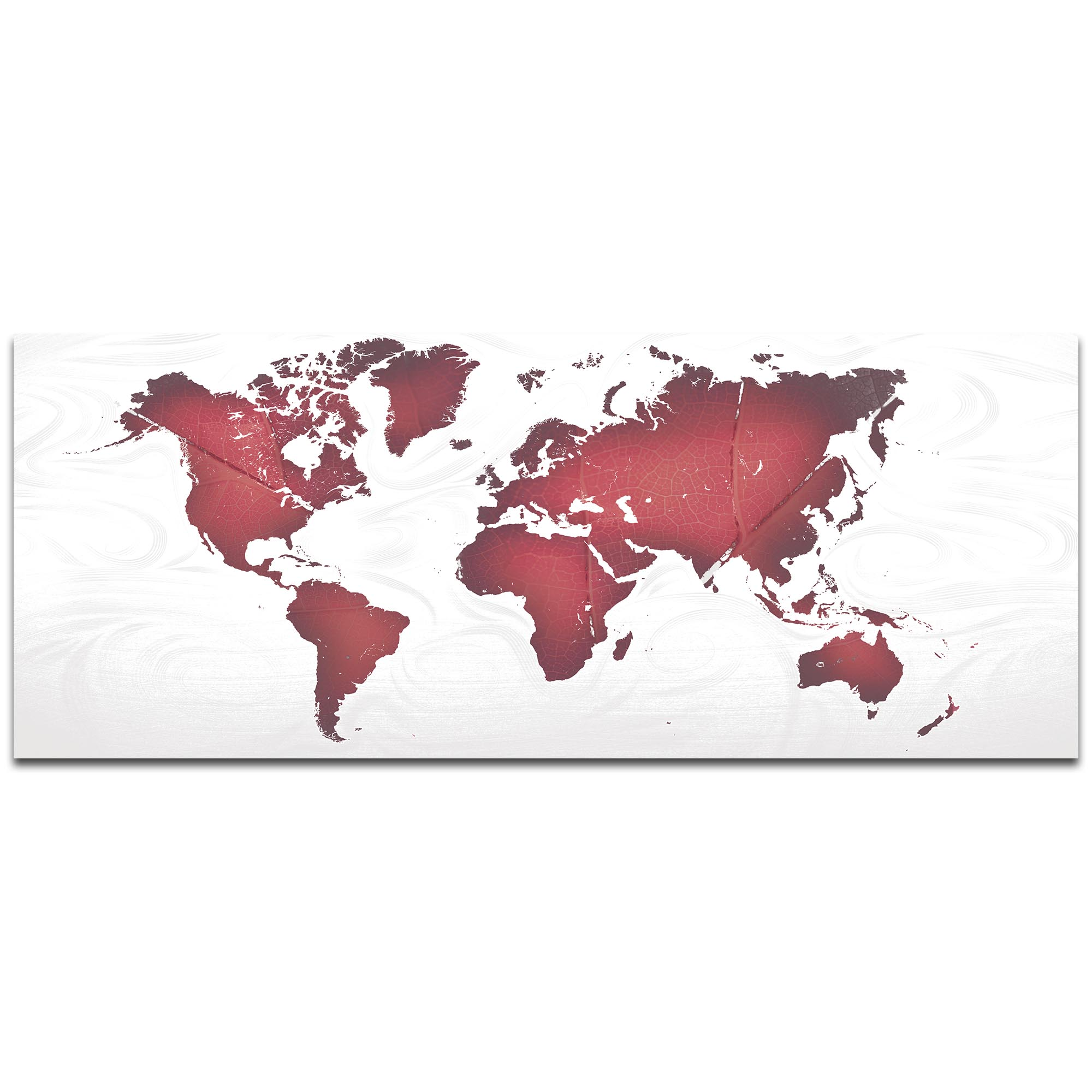 Abstract World Map 'Red White Land and Sea' - Urban Wall Art on Metal or Acrylic