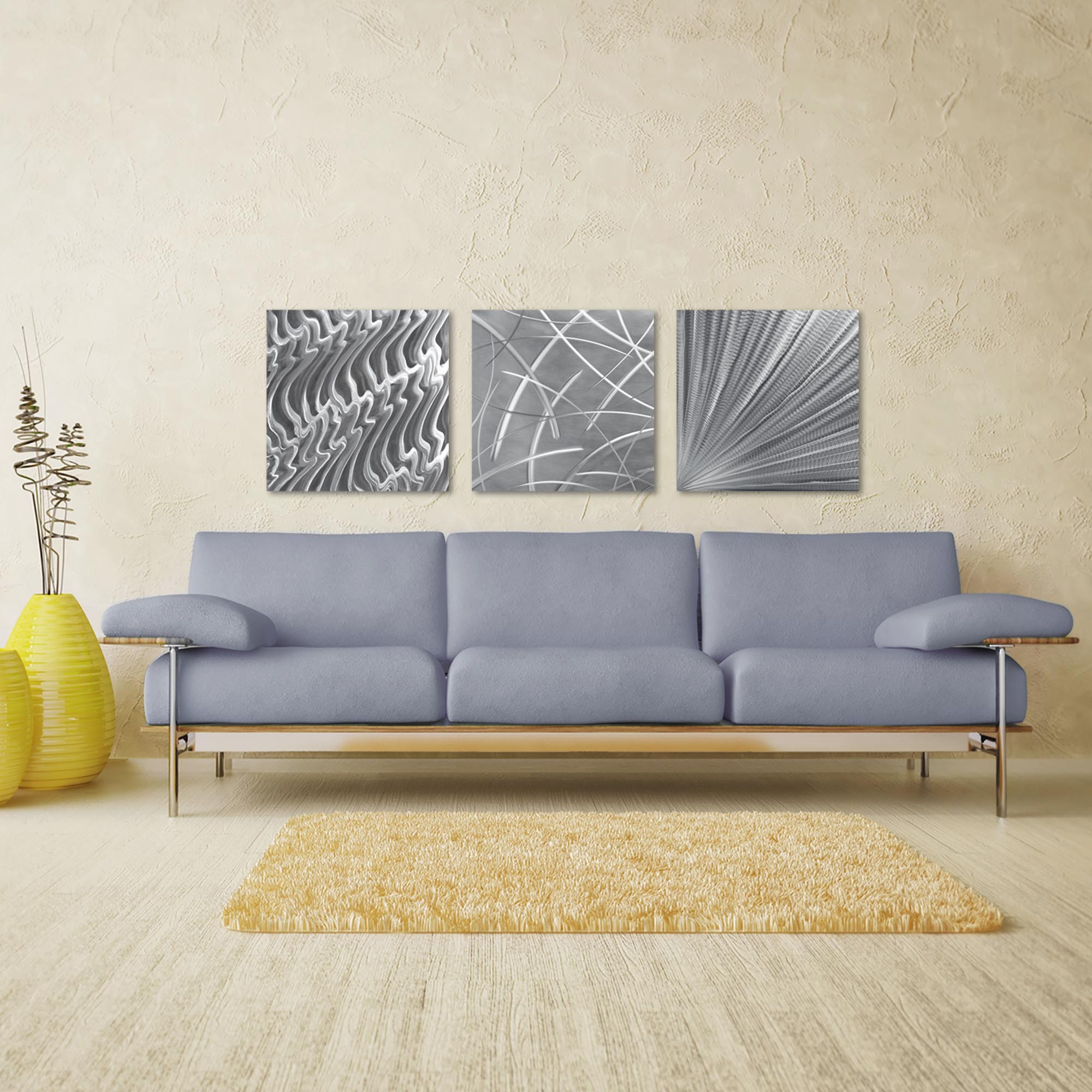 Countless v2 Triptych Large 70x22in. Metal or Acrylic Contemporary Decor - Lifestyle View