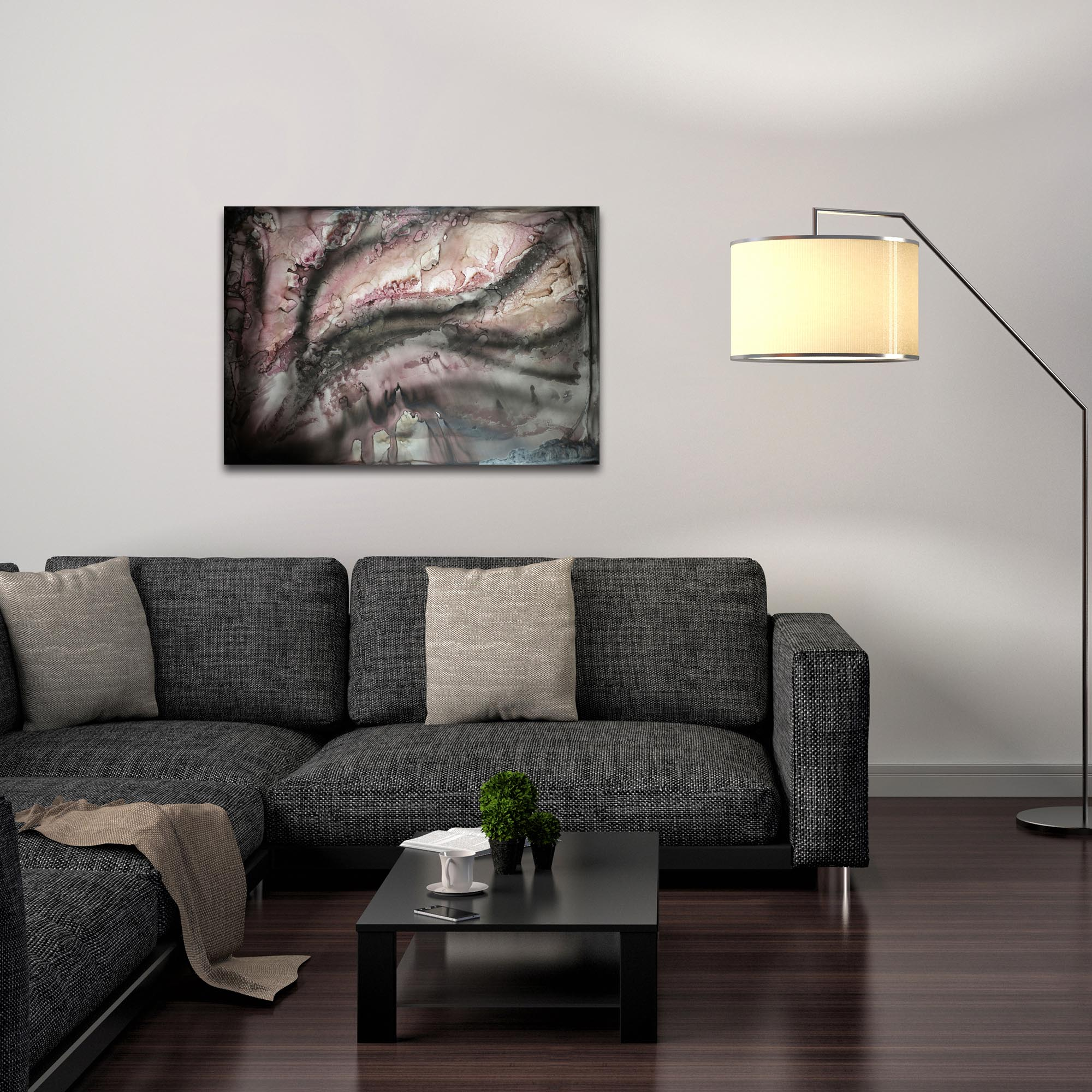 Abstract Wall Art 'Rose Crystal' - Urban Decor on Metal or Plexiglass - Lifestyle View
