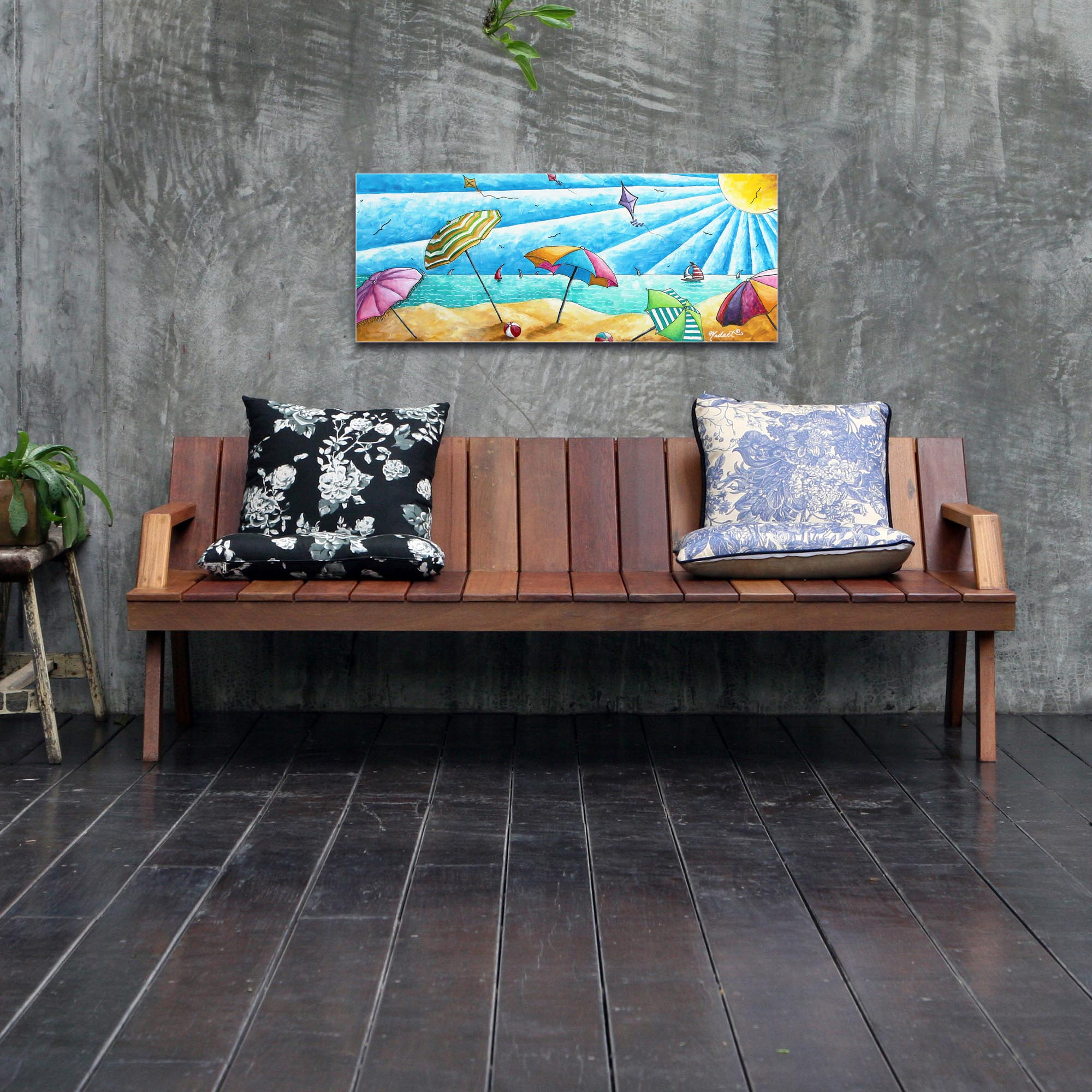 Beach Painting 'Beach Life v2' - Tropical Wall Art on Metal or Acrylic - Lifestyle View 2
