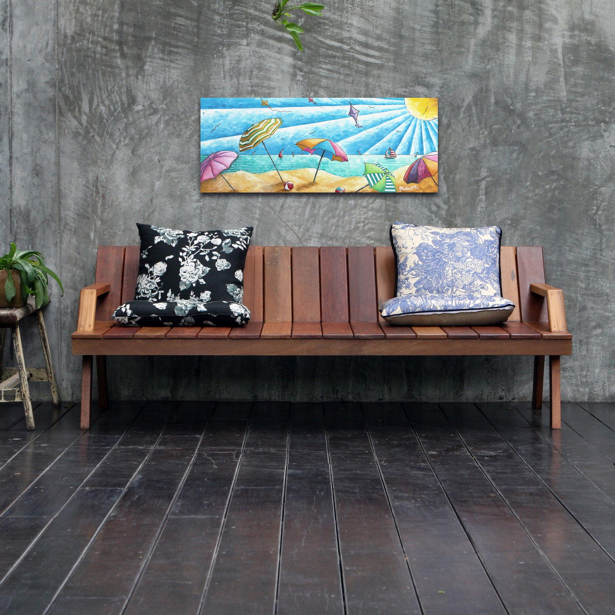 Beach Painting 'Beach Life v2' - Tropical Wall Art on Metal or Acrylic - Lifestyle View