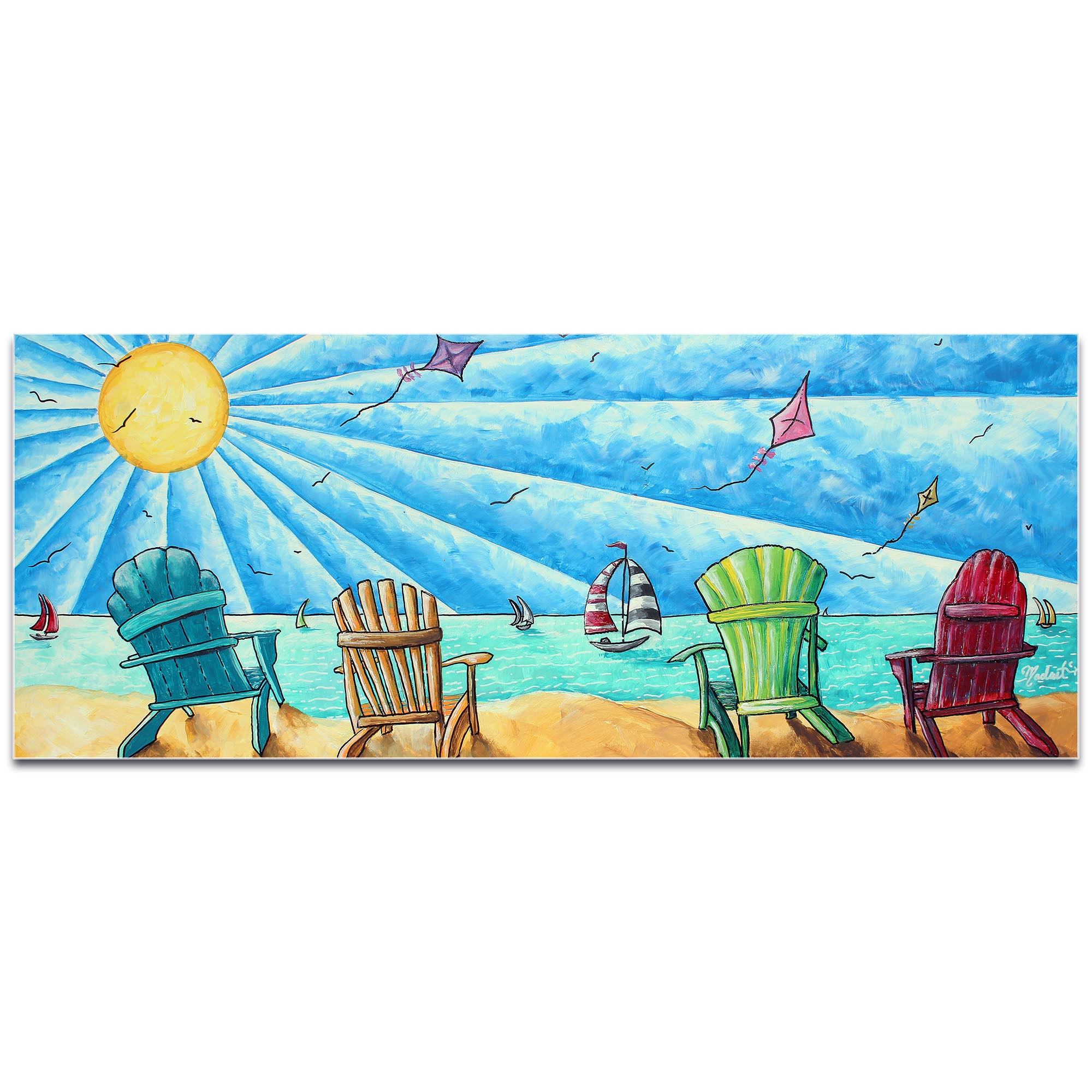 Beach Painting 'Beach Life v1' - Tropical Wall Art on Metal or Acrylic - Image 2