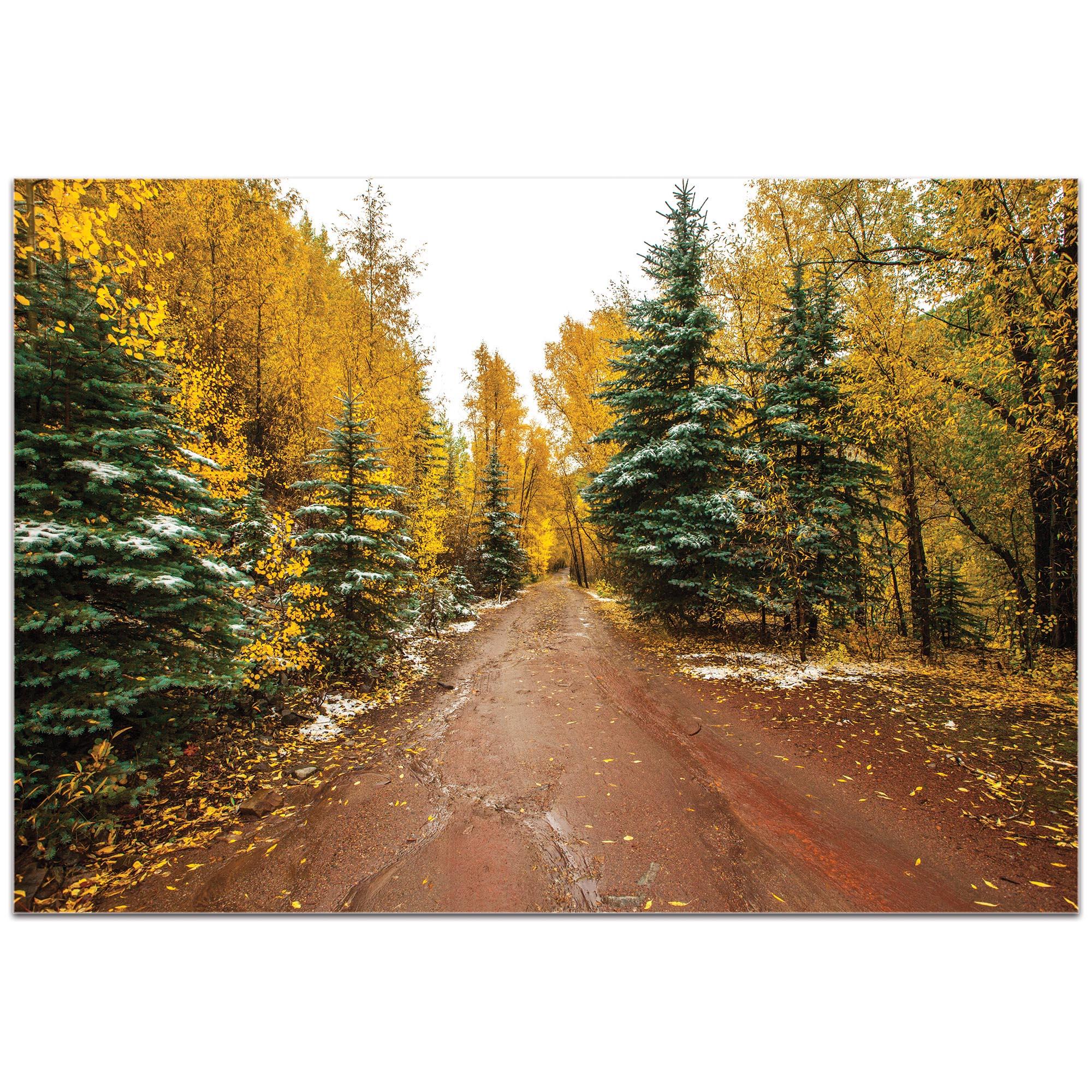 Landscape Photography 'Road Less Traveled' - Autumn Trees Art on Metal or Plexiglass - Image 2