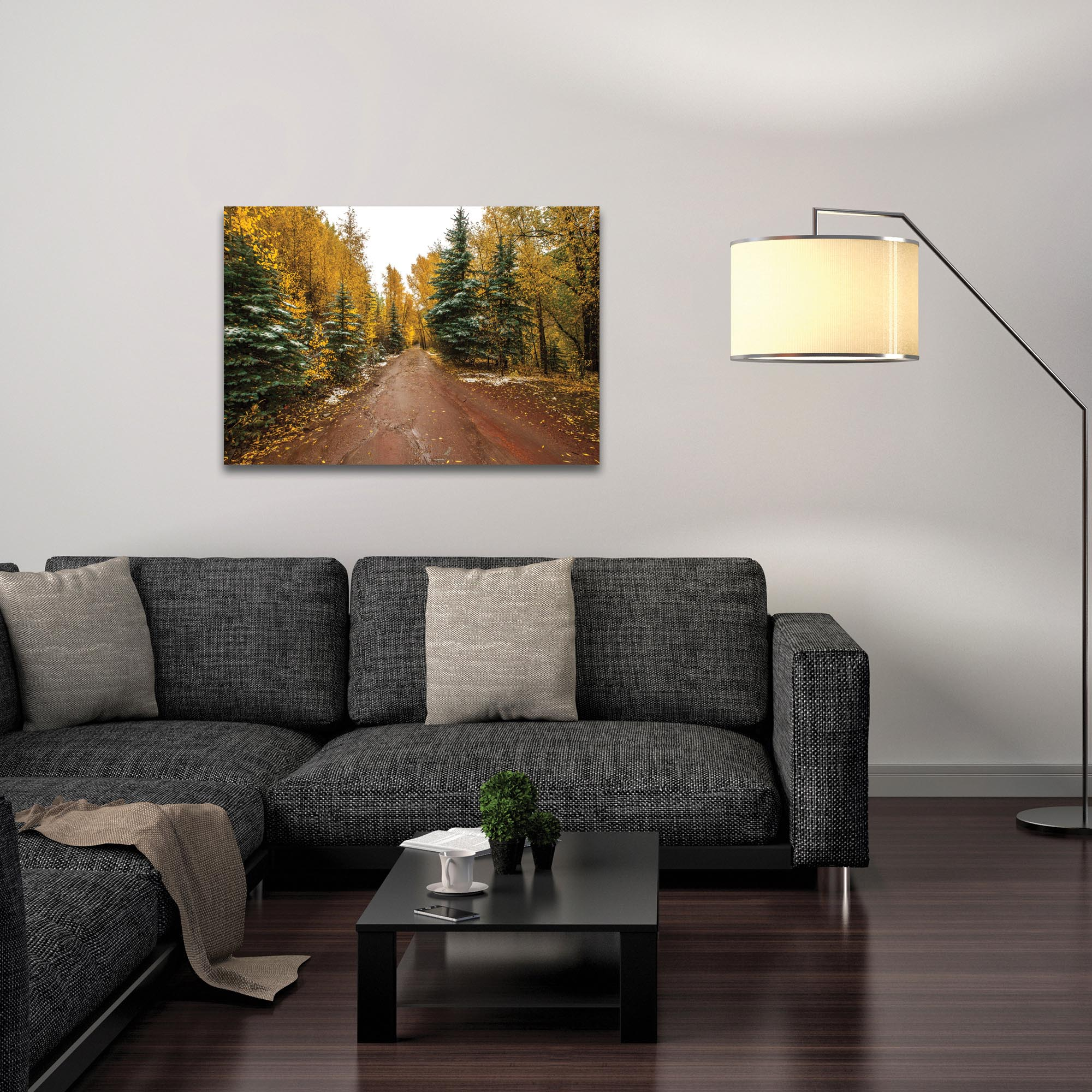 Landscape Photography 'Road Less Traveled' - Autumn Trees Art on Metal or Plexiglass - Lifestyle View