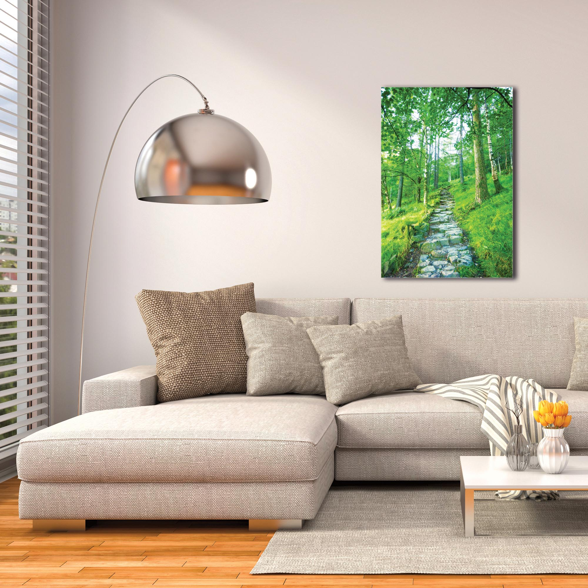 Landscape Photography 'Cobblestone Path' - Green Trees Art on Metal or Plexiglass - Image 3