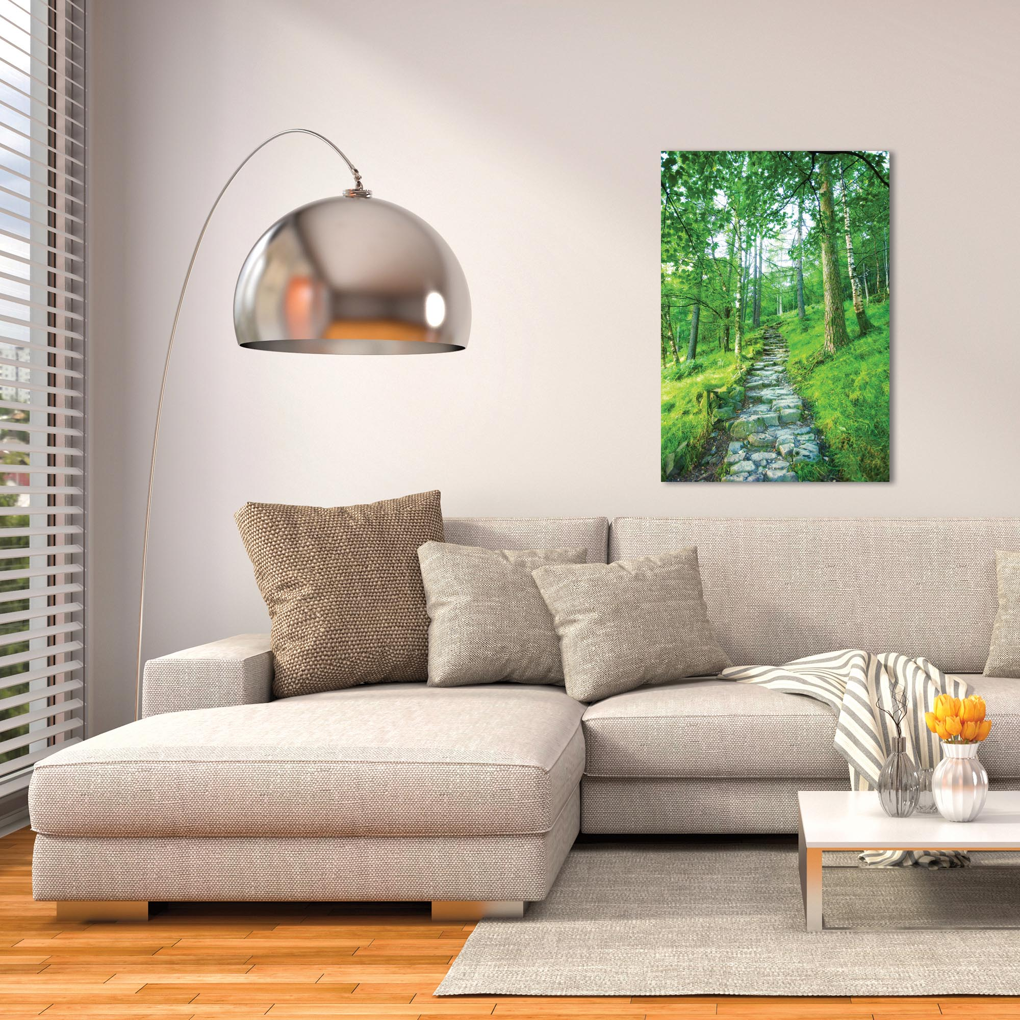 Landscape Photography 'Cobblestone Path' - Green Trees Art on Metal or Plexiglass - Lifestyle View