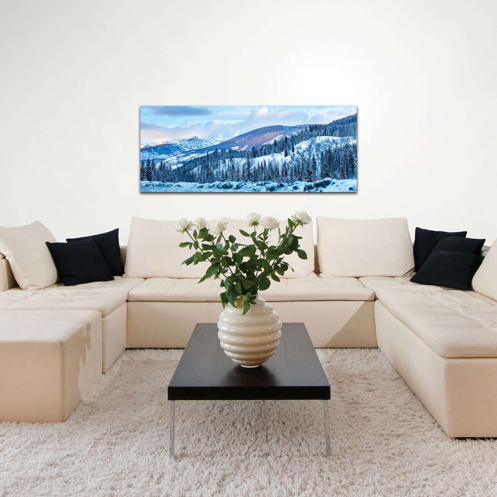 Landscape Photography 'The Slopes' - Winter Scene Art on Metal or Plexiglass - Lifestyle View