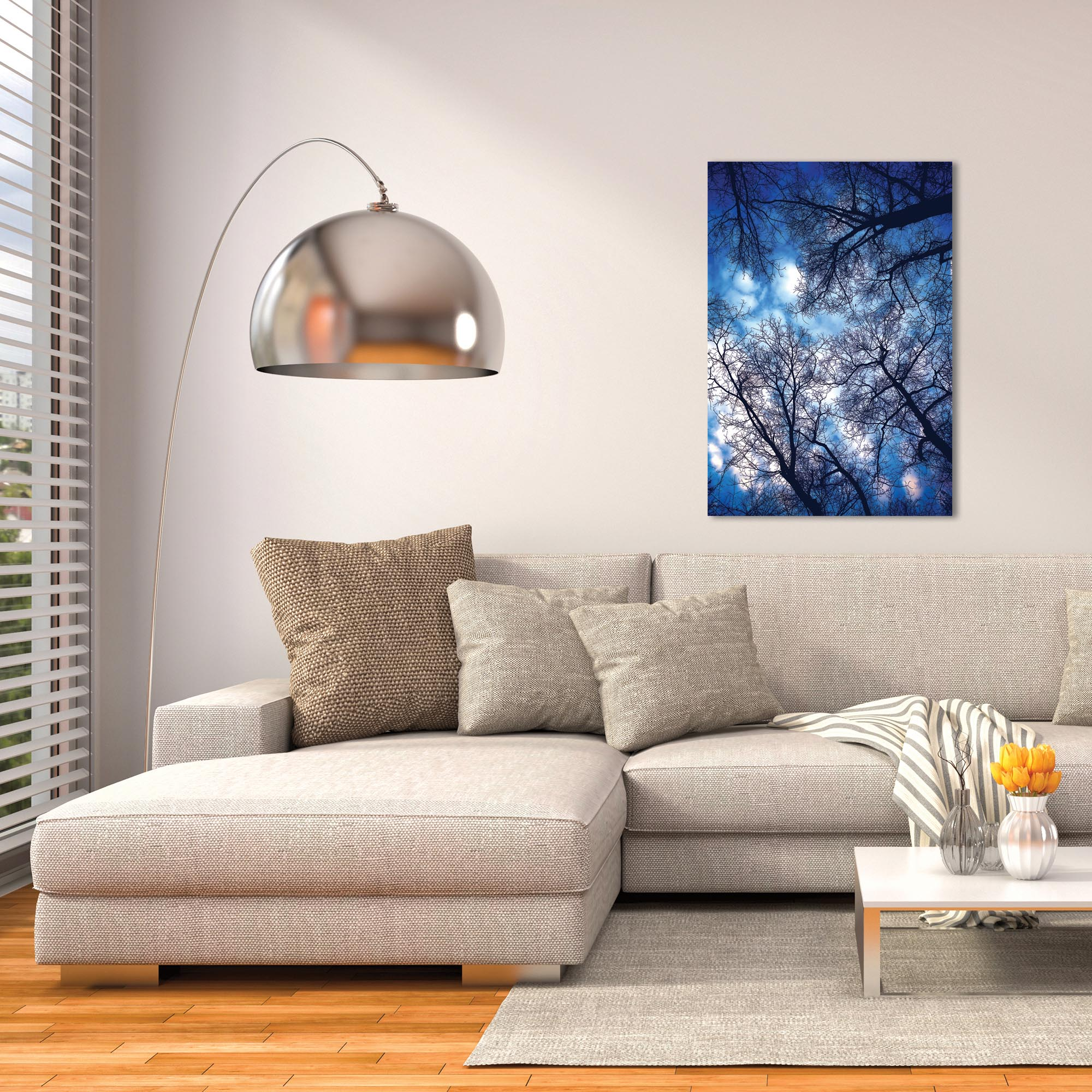 Landscape Photography 'Sky Vains' - Winter Scene Art on Metal or Plexiglass - Lifestyle View