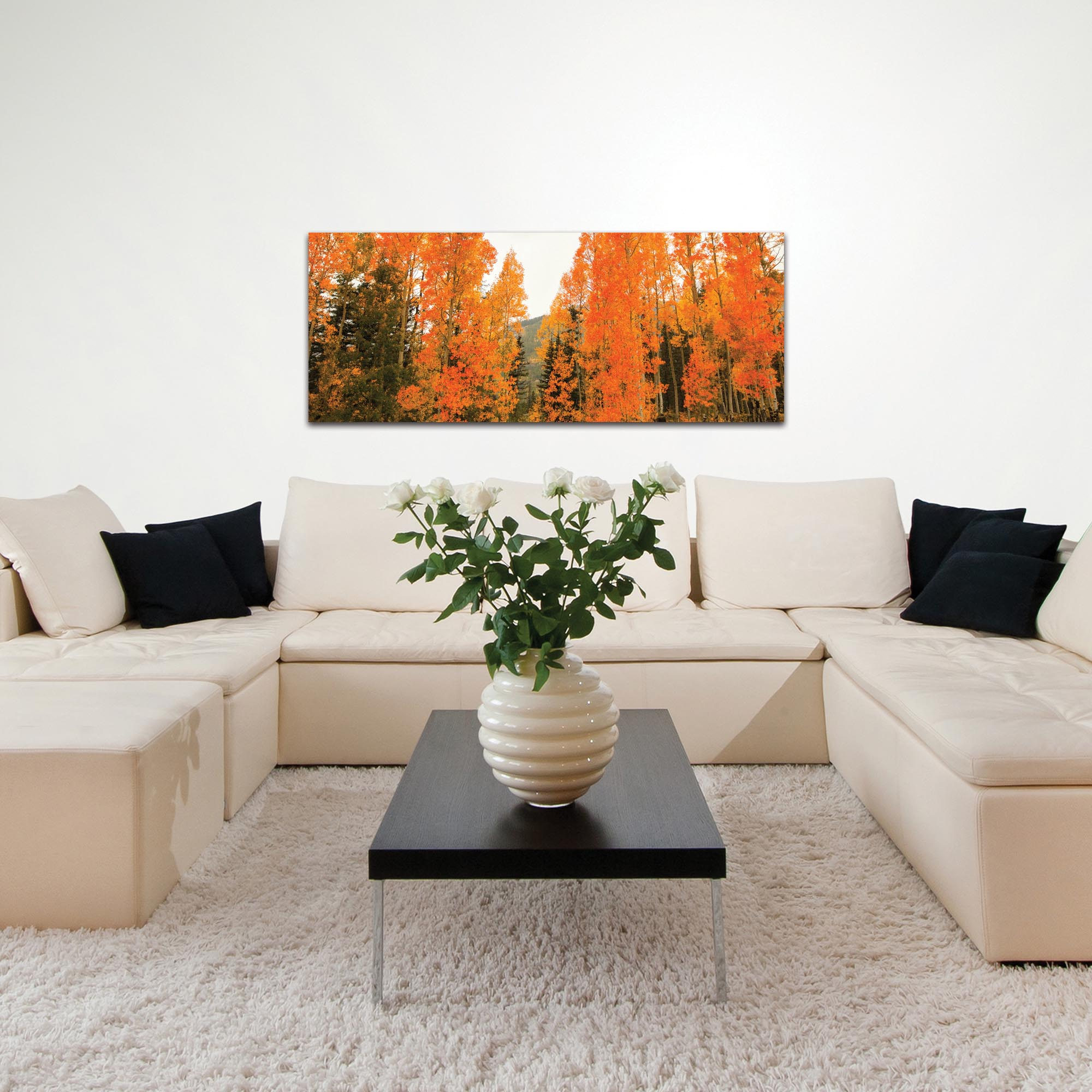 Landscape Photography 'Aspen Fire' - Autumn Nature Art on Metal or Plexiglass - Lifestyle View