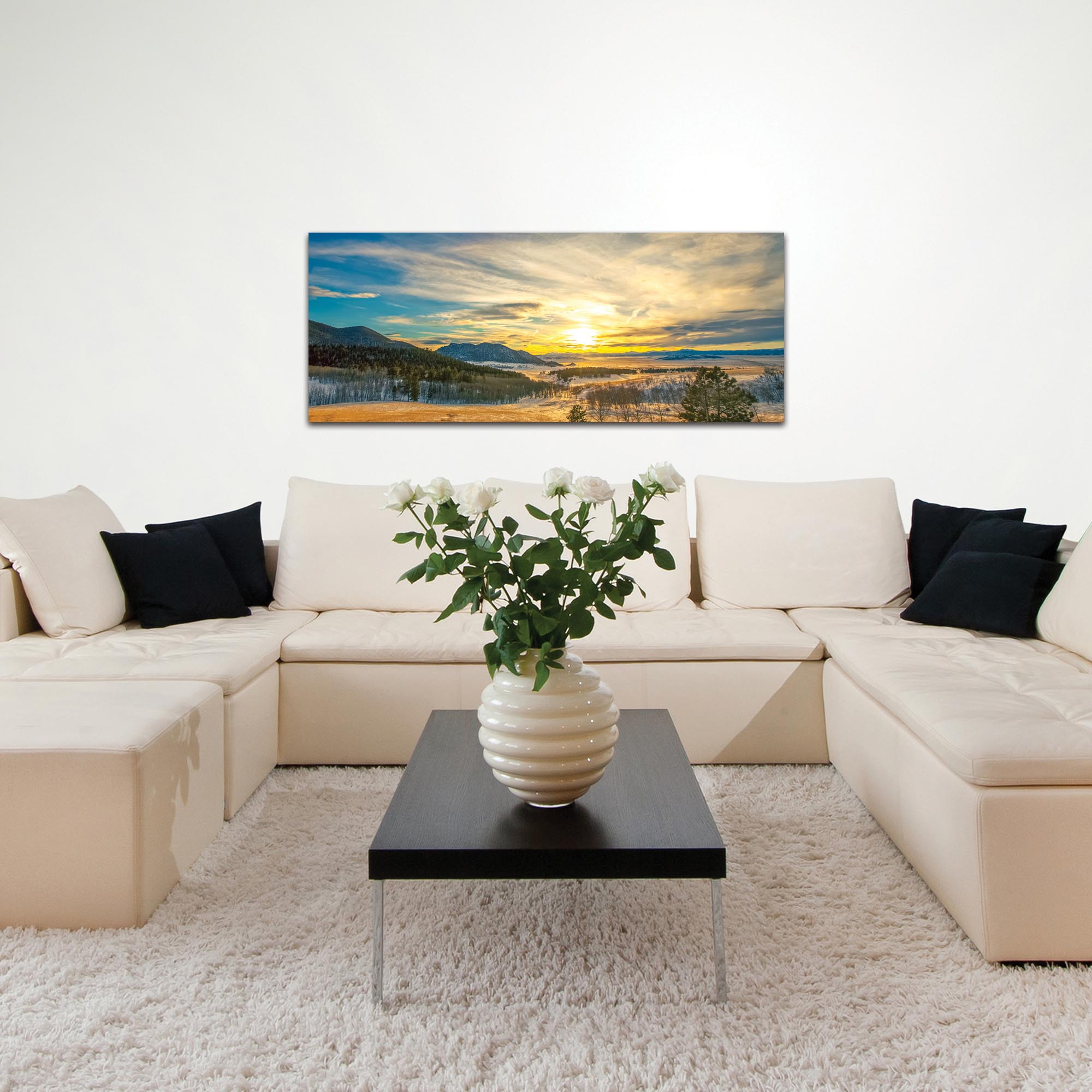 Landscape Photography 'Brisk Sunset' - Winter Sunset Art on Metal or Plexiglass - Lifestyle View
