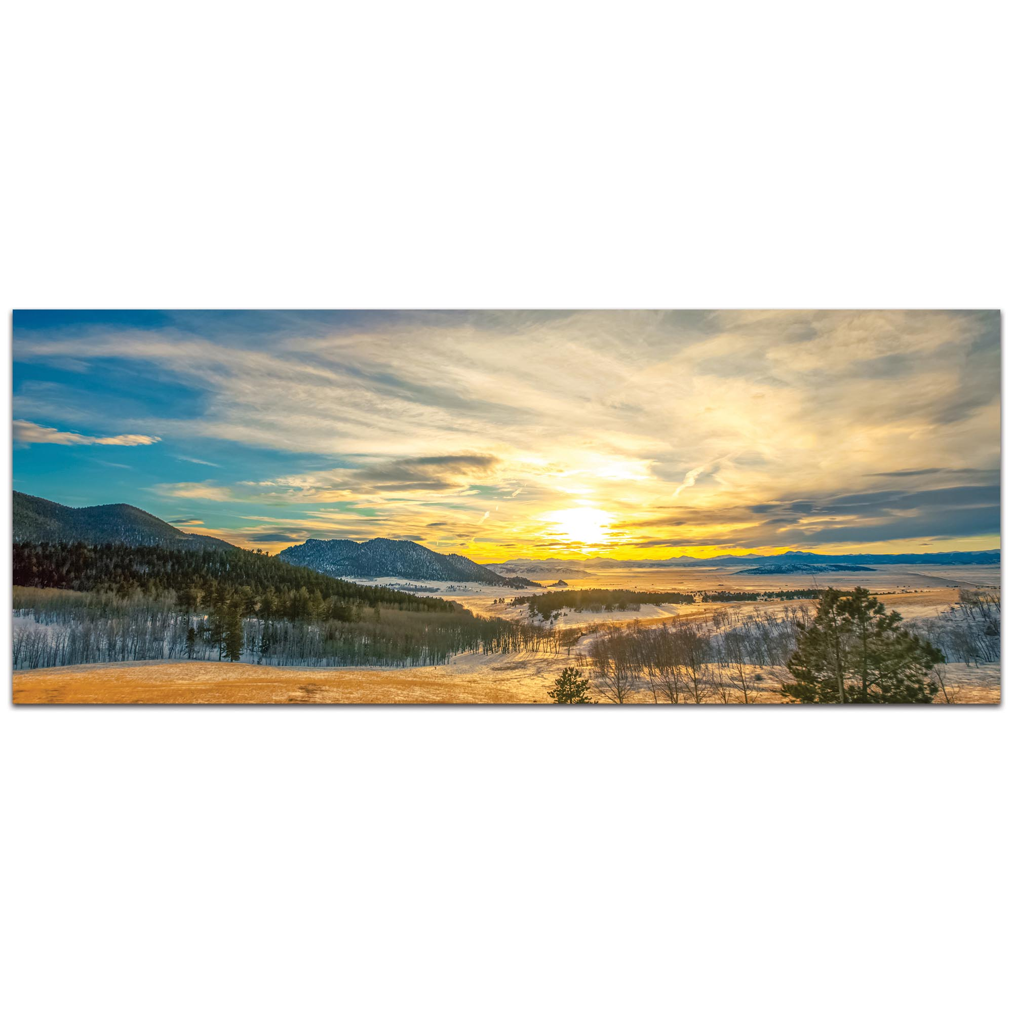 Landscape Photography 'Brisk Sunset' - Winter Sunset Art on Metal or Plexiglass