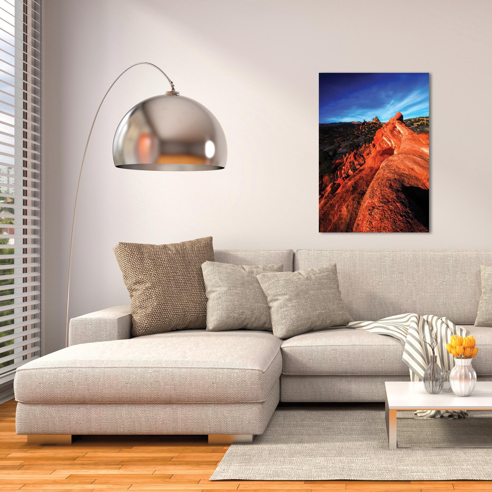 Landscape Photography 'Red Ridge' - Desert Scene Art on Metal or Plexiglass - Lifestyle View