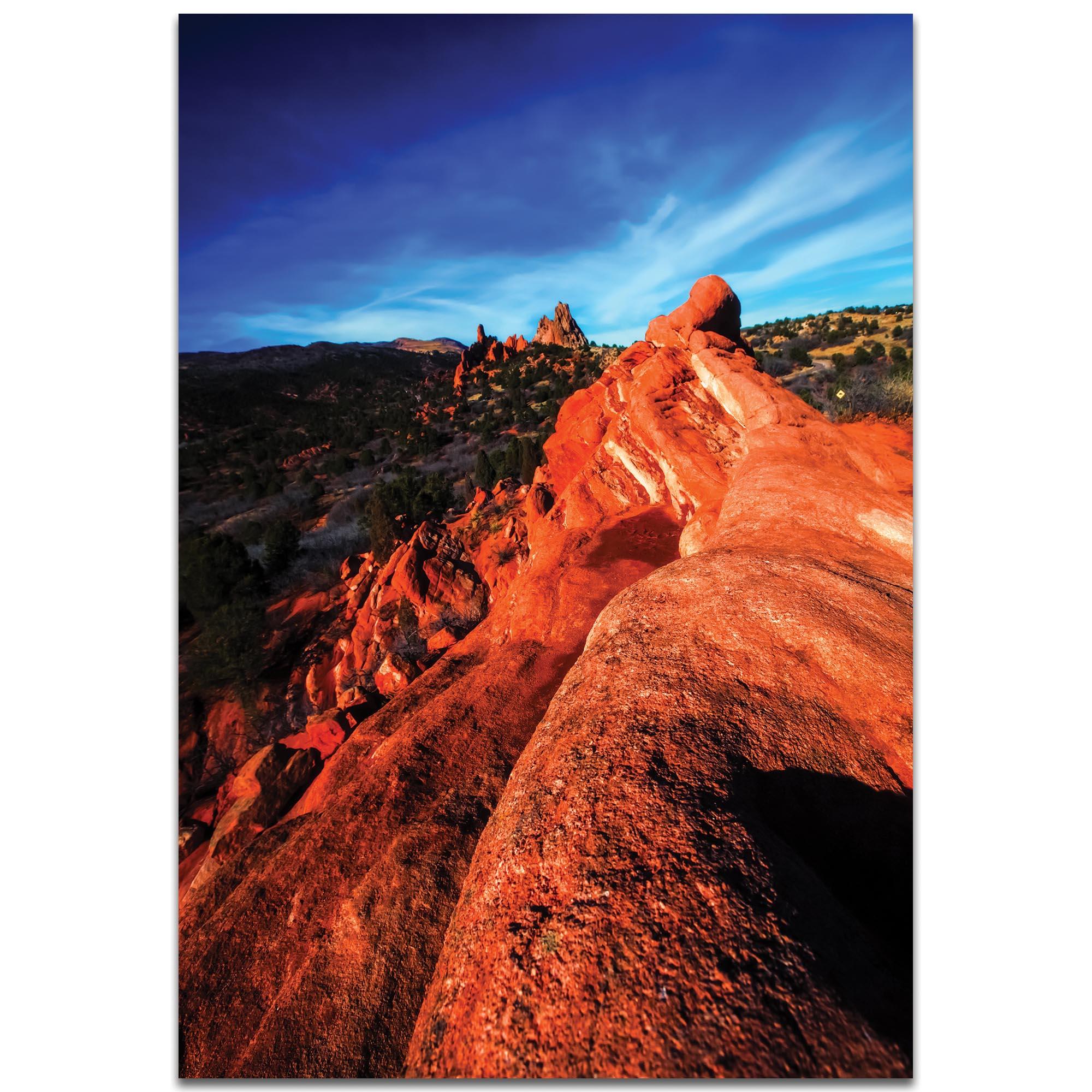 Landscape Photography 'Red Ridge' - Desert Scene Art on Metal or Plexiglass