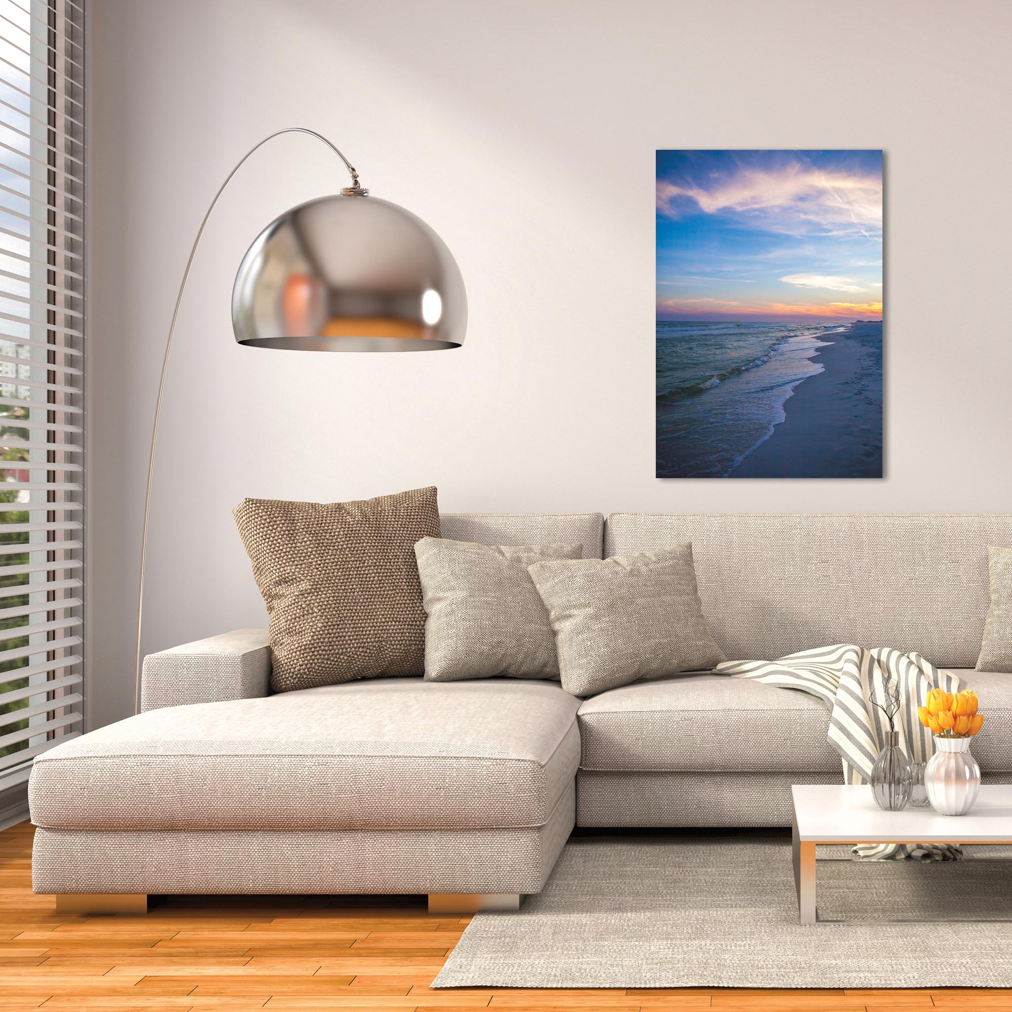 Coastal Wall Art 'Sunset Shores' - Romantic Sunset Decor on Metal or Plexiglass - Lifestyle View