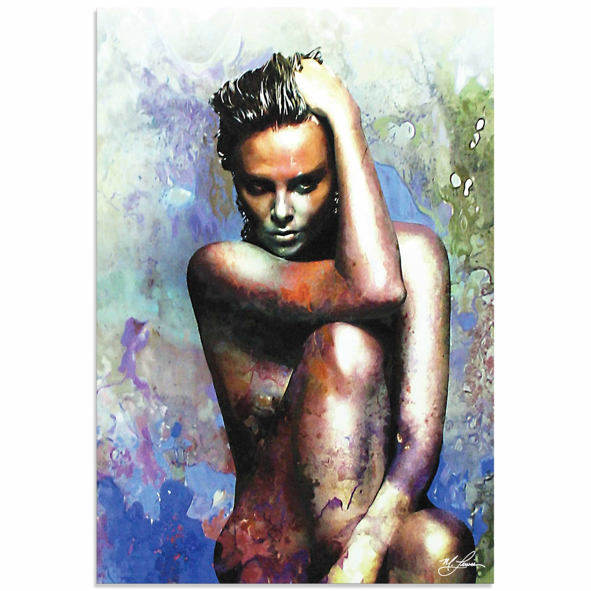 Charlize Theron Blue Daze 2 | Pop Art Painting by Mark Lewis, Signed & Numbered Limited Edition