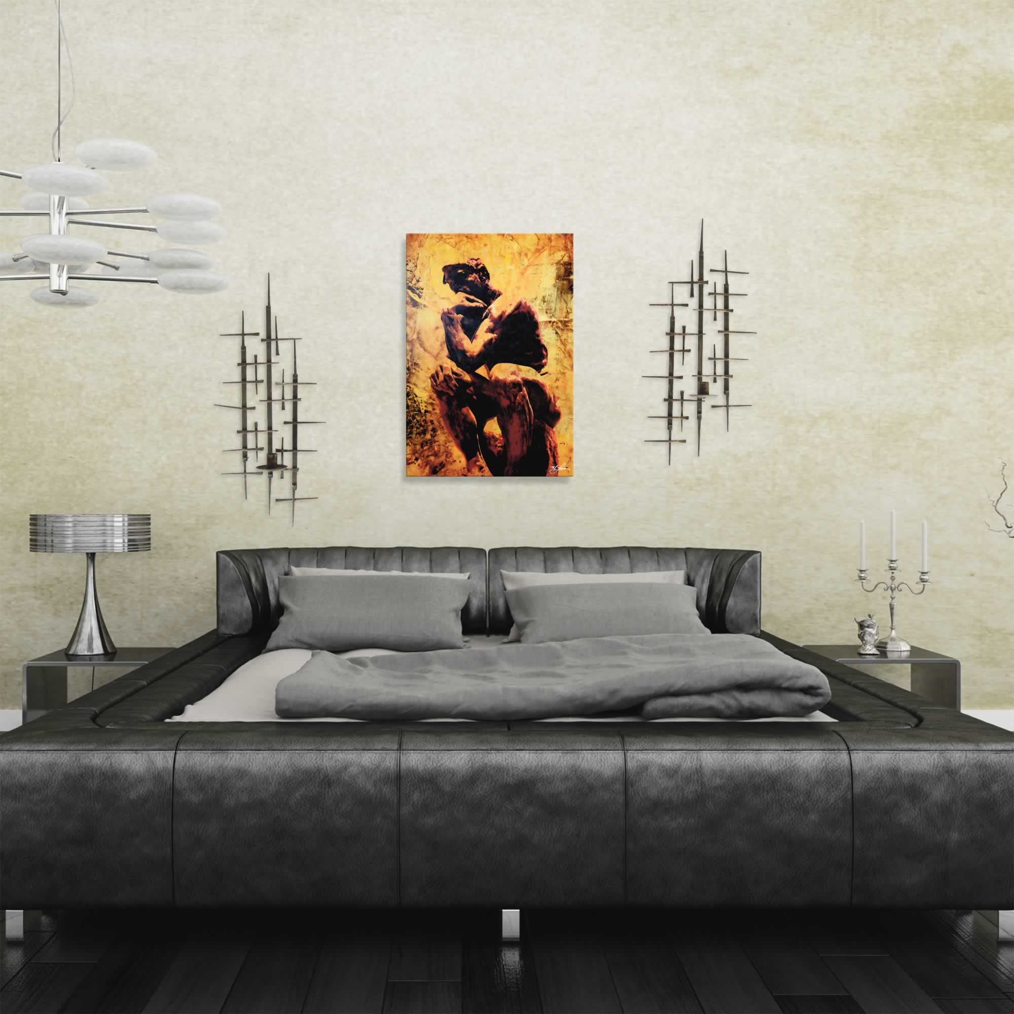 Rodin Clarified Thought by Mark Lewis - Contemporary Pop Art on Metal - Lifestyle View