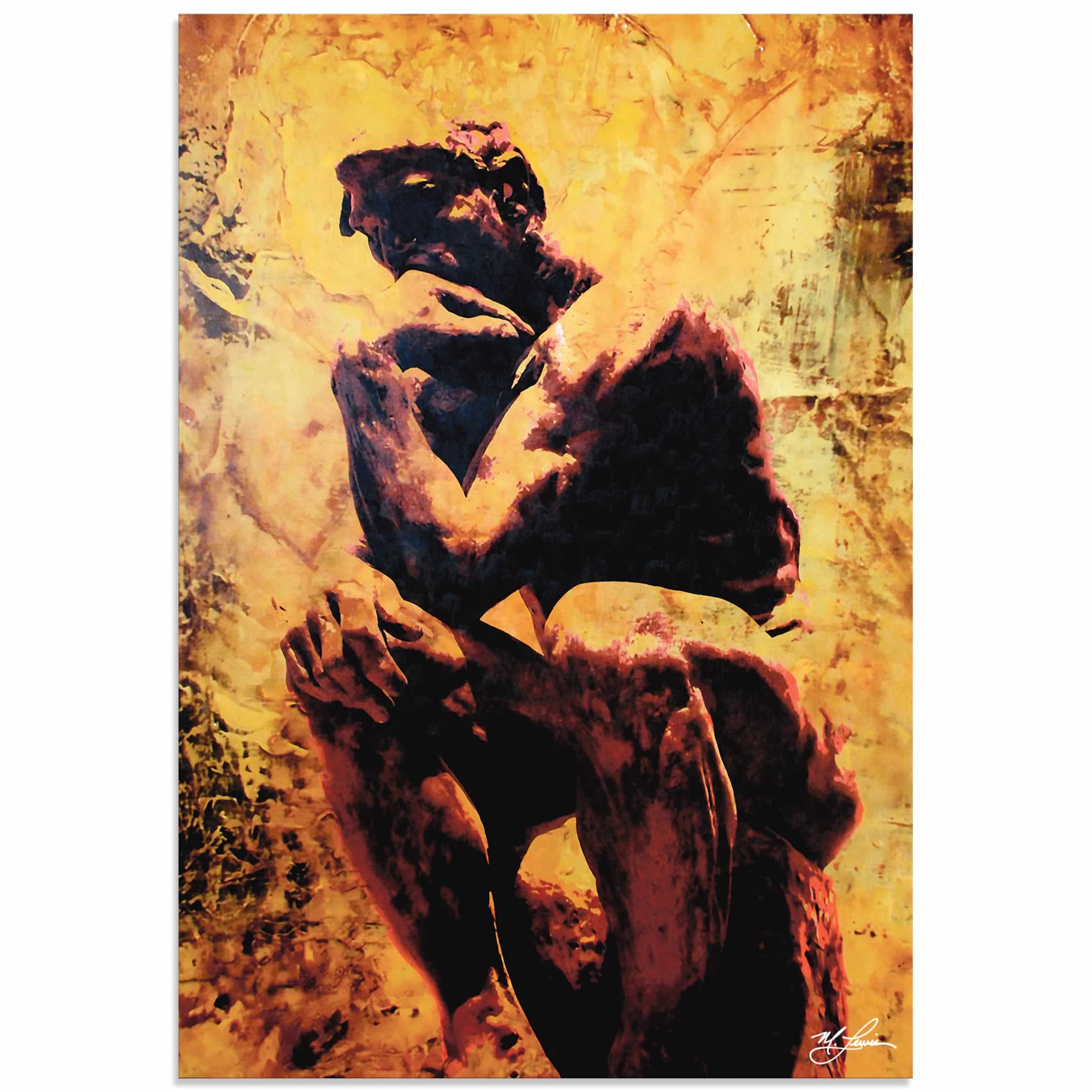 Mark Lewis 'Rodin Clarified Thought' Limited Edition Pop Art Print on Metal or Acrylic