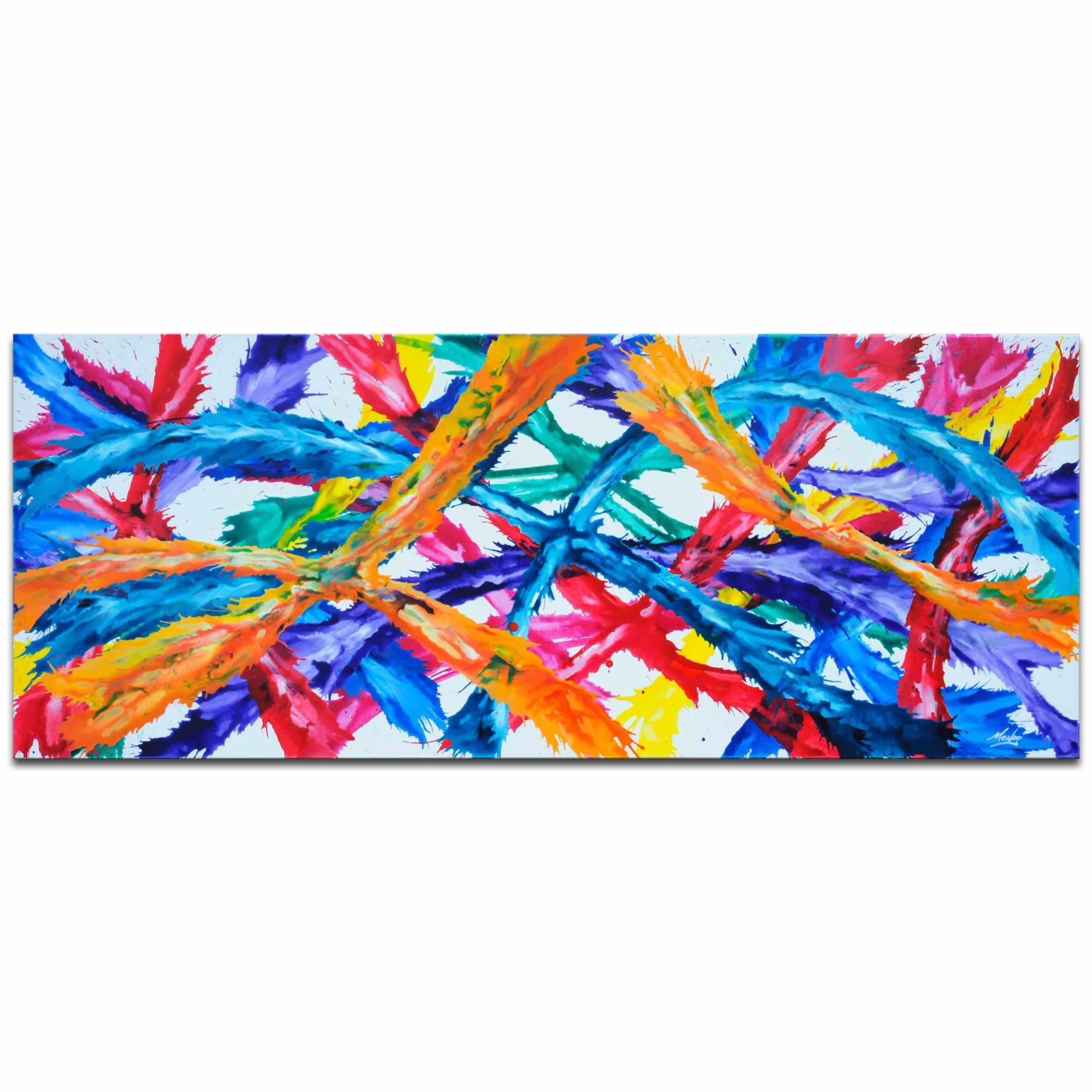 Infinite Colors Blue Orange Red White Yellow Purple Painting Modern Abstract Art Contemporary Eclectic Decor