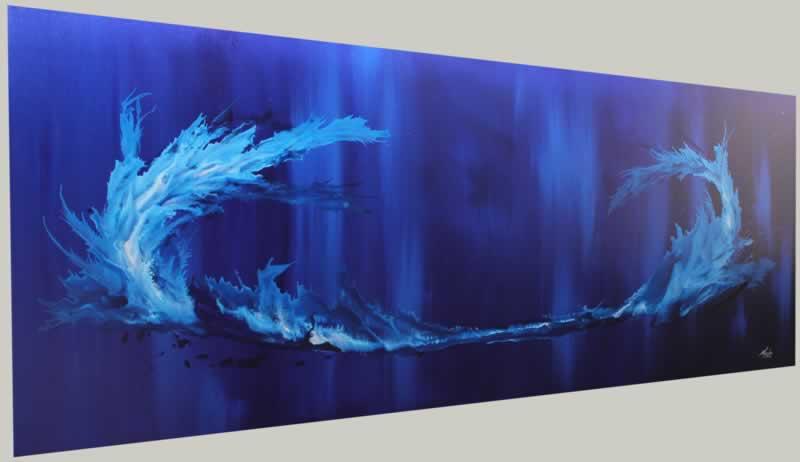 Blue Tidal Wave  - Original Canvas Art